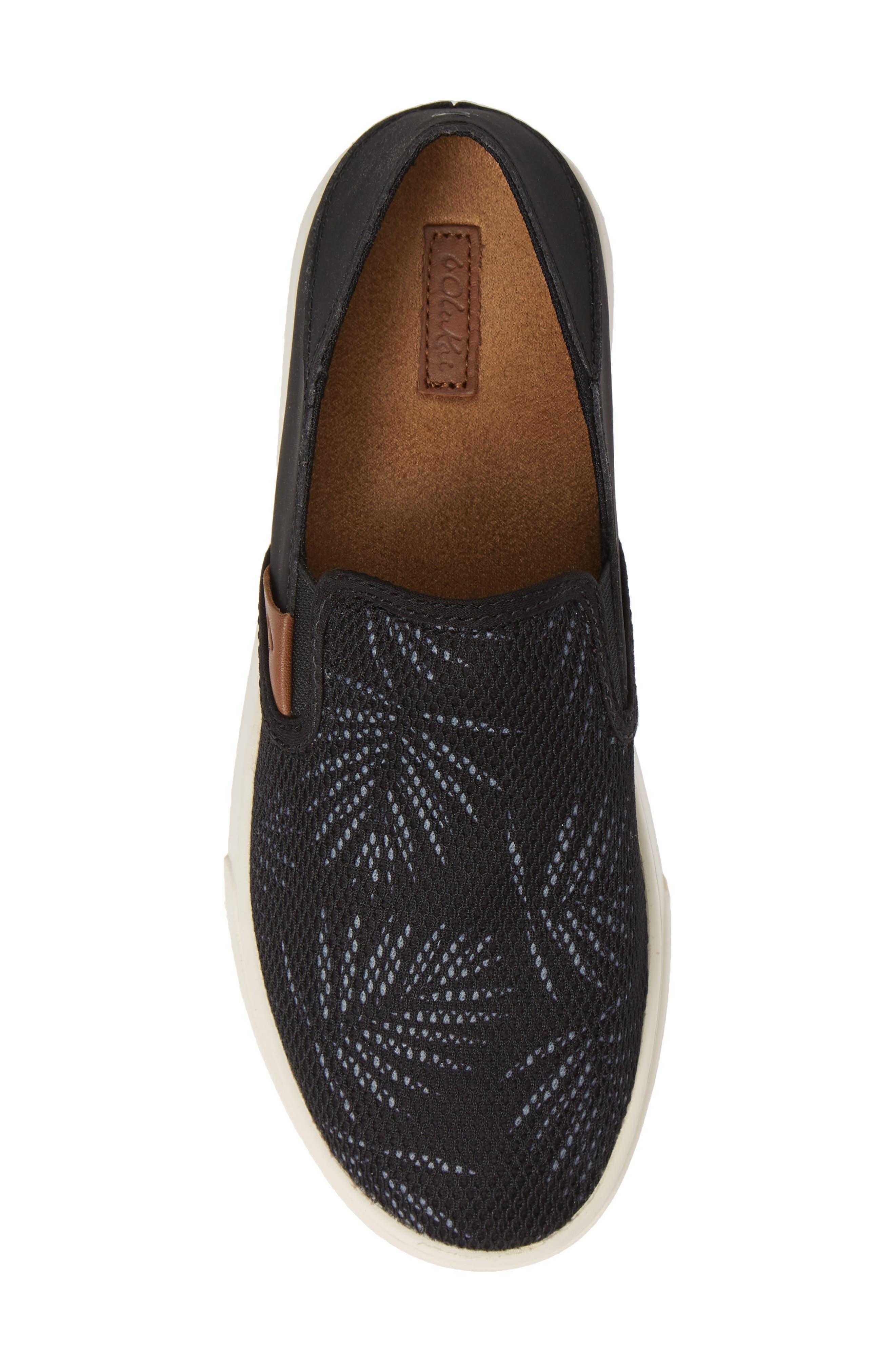 OLUKAI, 'Pehuea' Slip-On Sneaker, Alternate thumbnail 5, color, BLACK/ PALM FABRIC