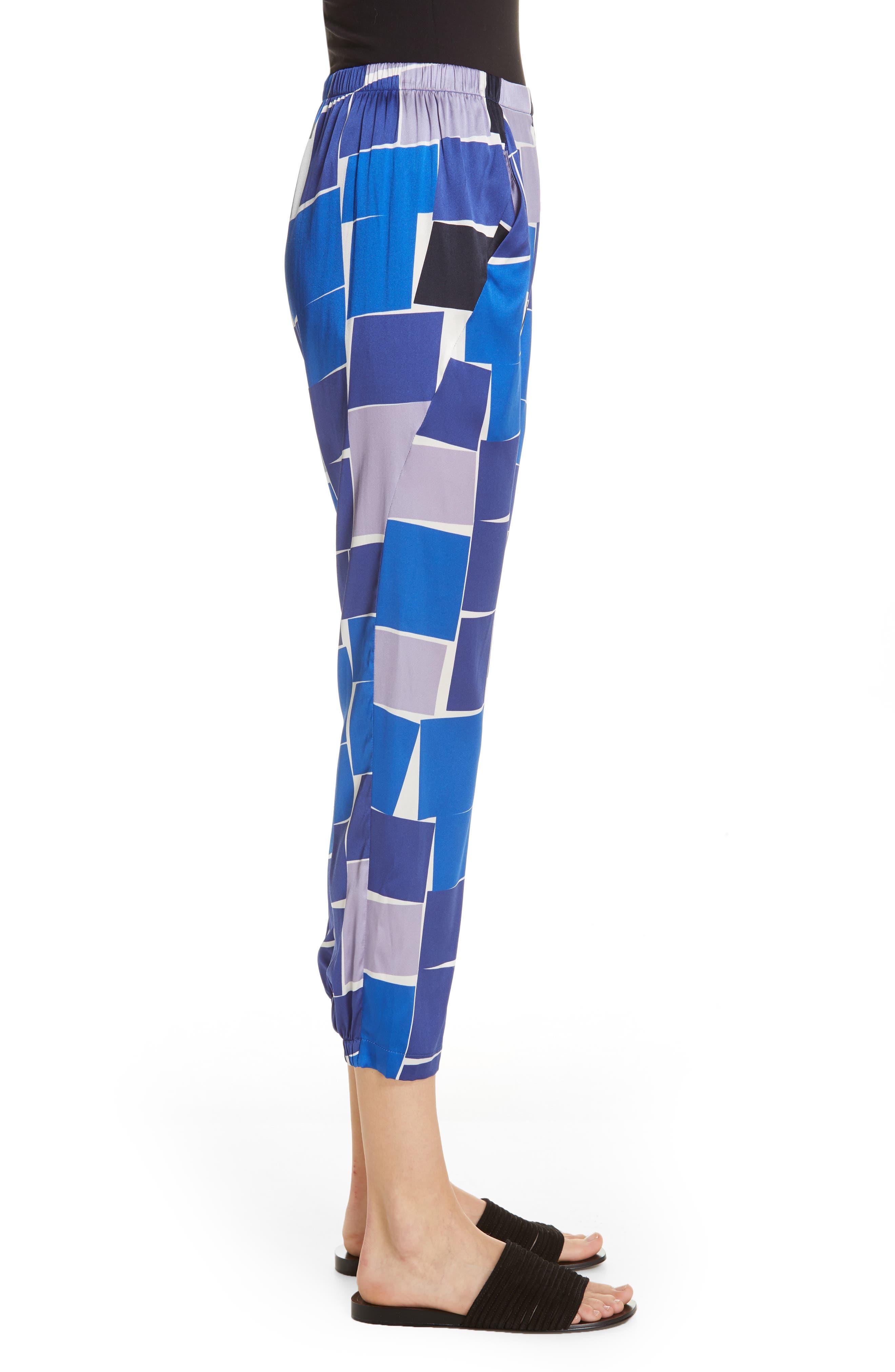 ZERO + MARIA CORNEJO, Gabi Print Stretch Silk Trousers, Alternate thumbnail 3, color, DUSK MULTI