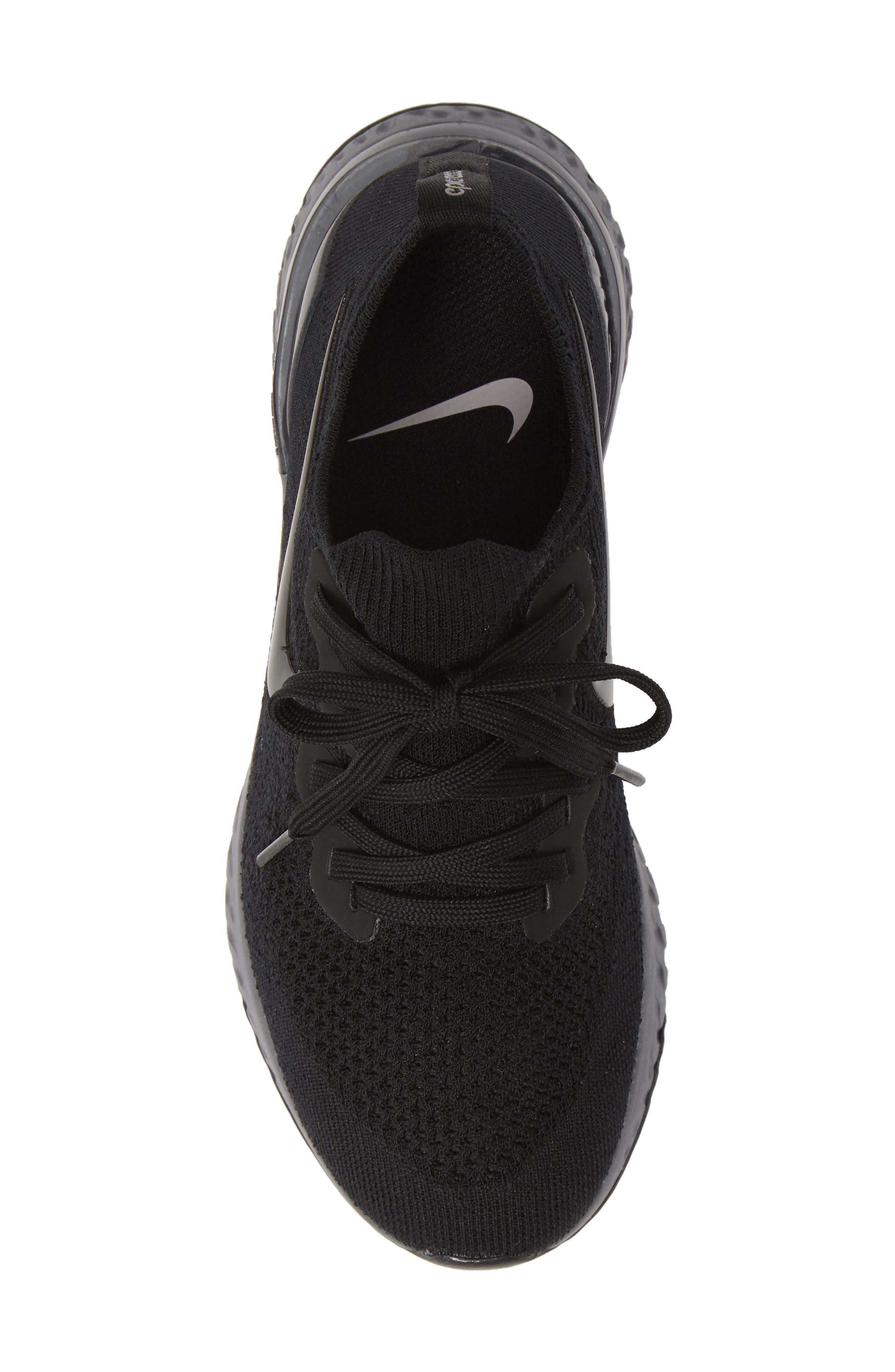 NIKE, Epic React Flyknit 2 Running Shoe, Alternate thumbnail 5, color, BLACK/ ANTHRACITE/ GUN SMOKE