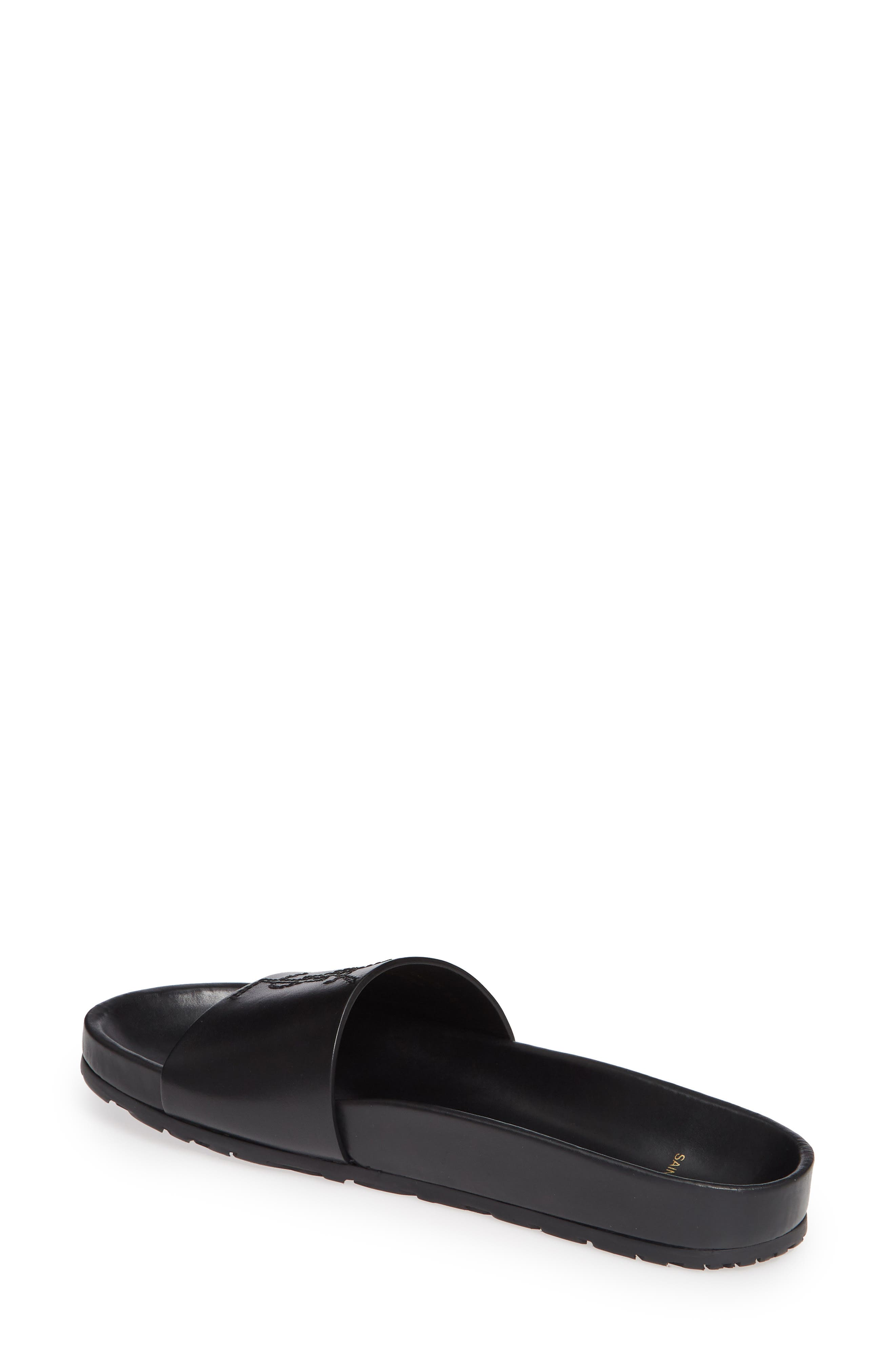 SAINT LAURENT, Jimmy Logo Slide Sandal, Alternate thumbnail 2, color, BLACK LEATHER