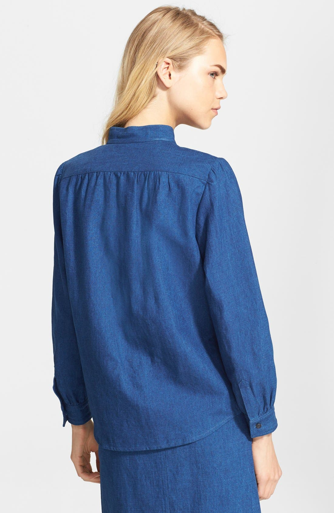 A.P.C., Puff Sleeve Denim Blouse, Alternate thumbnail 3, color, 400
