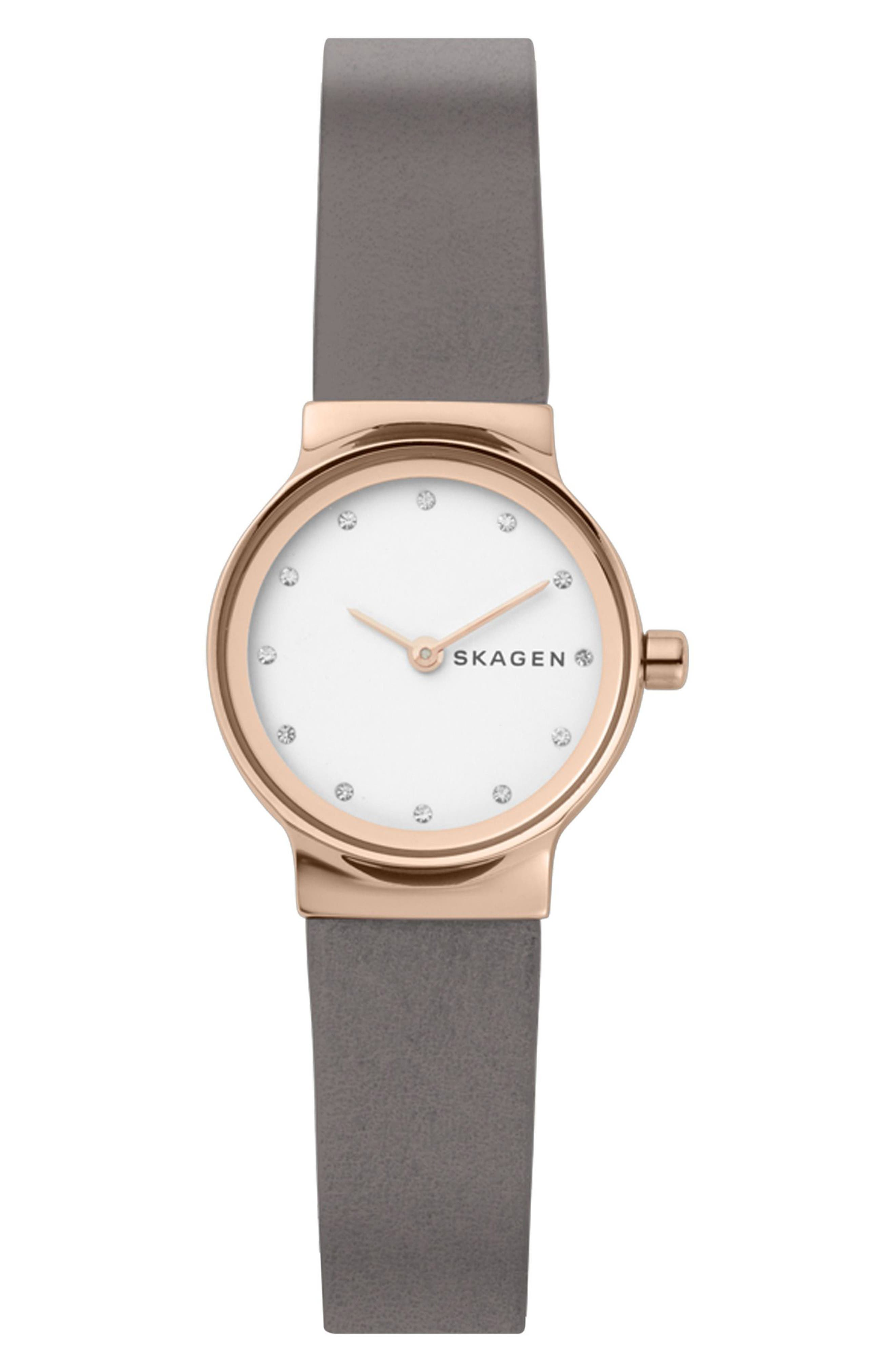 SKAGEN, Freja Crystal Accent Leather Strap Watch, 26mm, Main thumbnail 1, color, GREY/ WHITE/ ROSE GOLD
