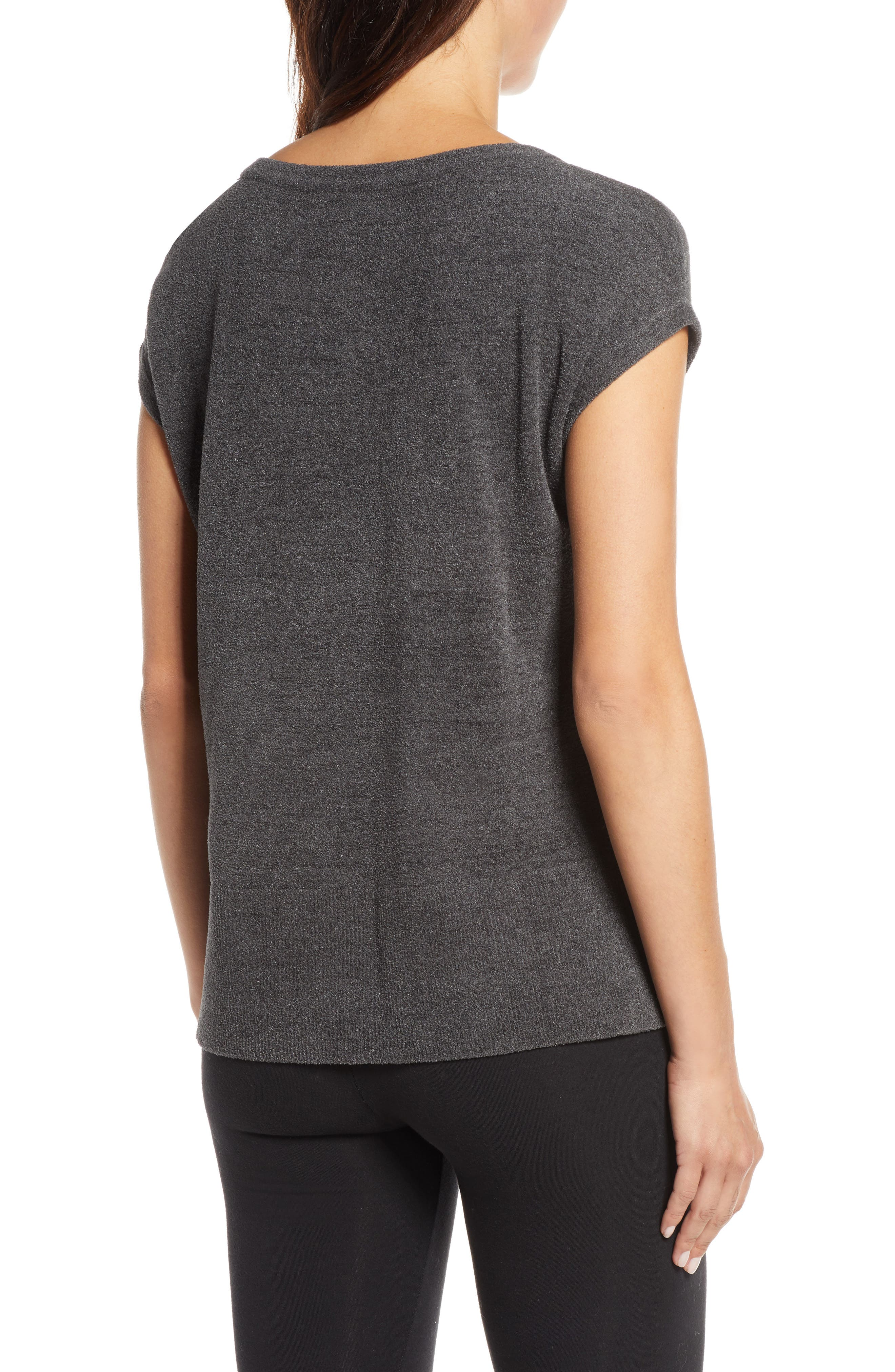 BAREFOOT DREAMS<SUP>®</SUP>, CozyChic Ultra Lite<sup>®</sup> Lounge Tee, Alternate thumbnail 2, color, CARBON