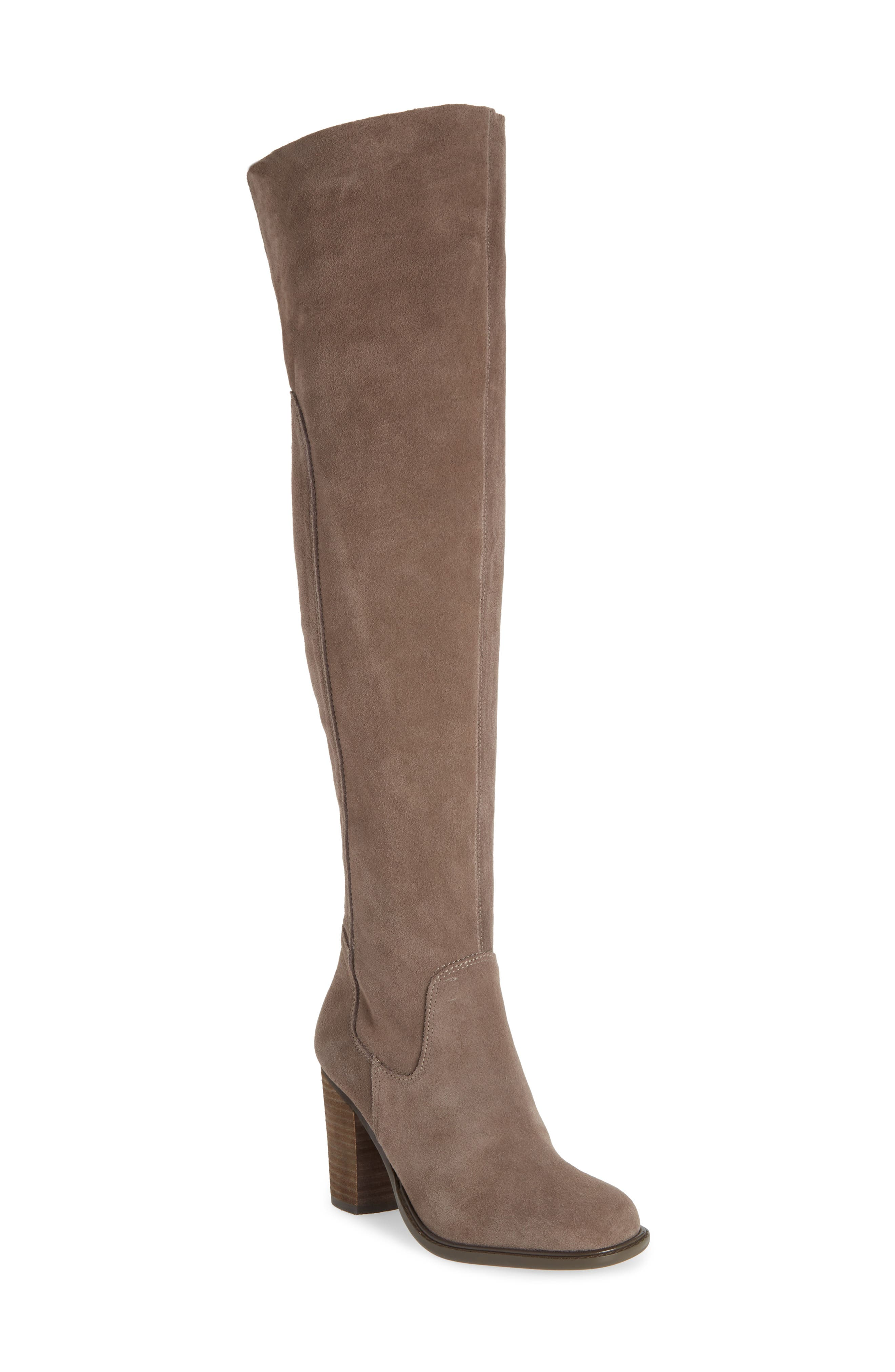 KELSI DAGGER BROOKLYN, Logan Over the Knee Boot, Main thumbnail 1, color, WARM GREY SUEDE