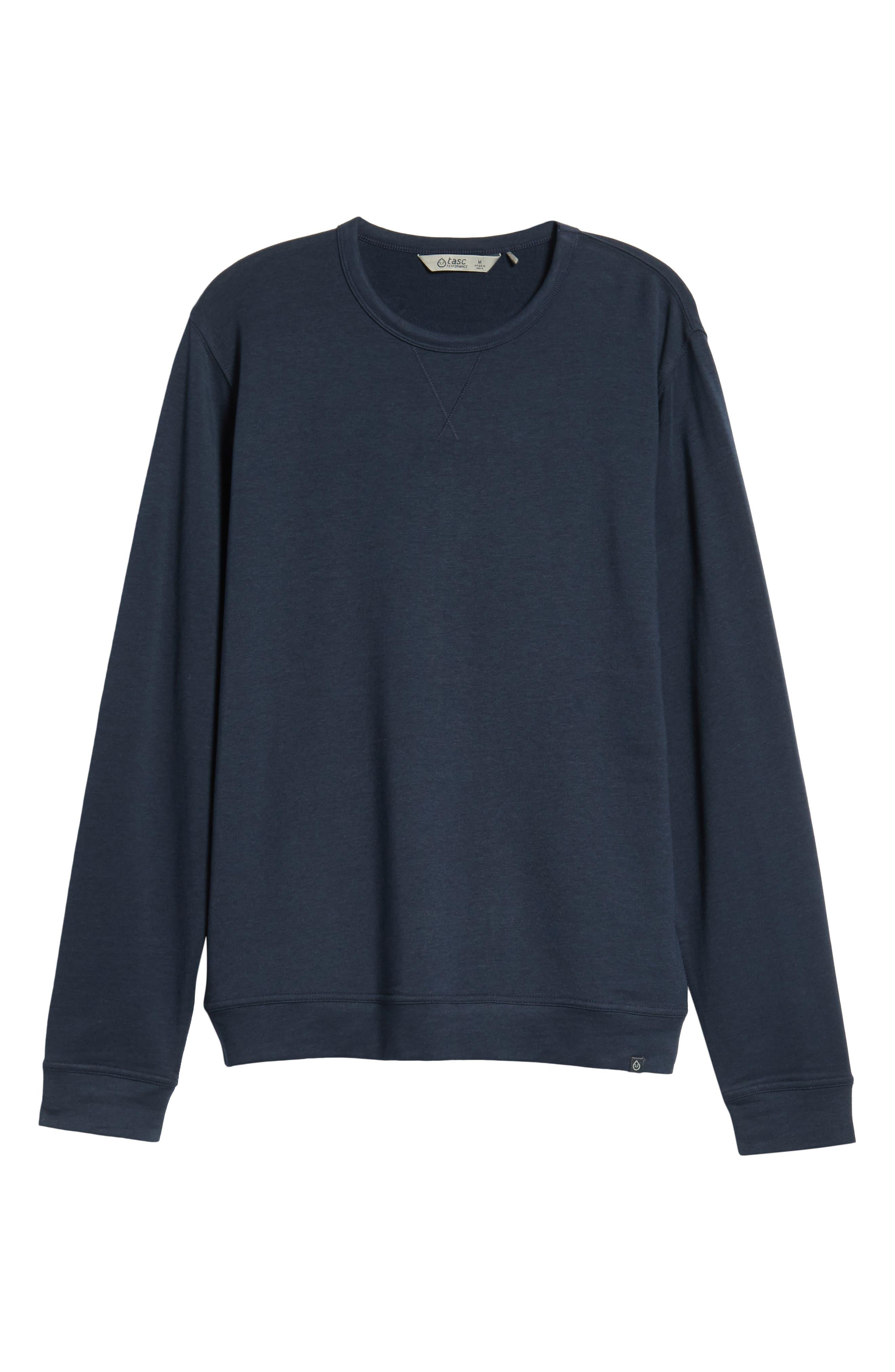 TASC PERFORMANCE, Legacy Crewneck Semi Fitted Sweatshirt, Alternate thumbnail 6, color, CLASSIC NAVY