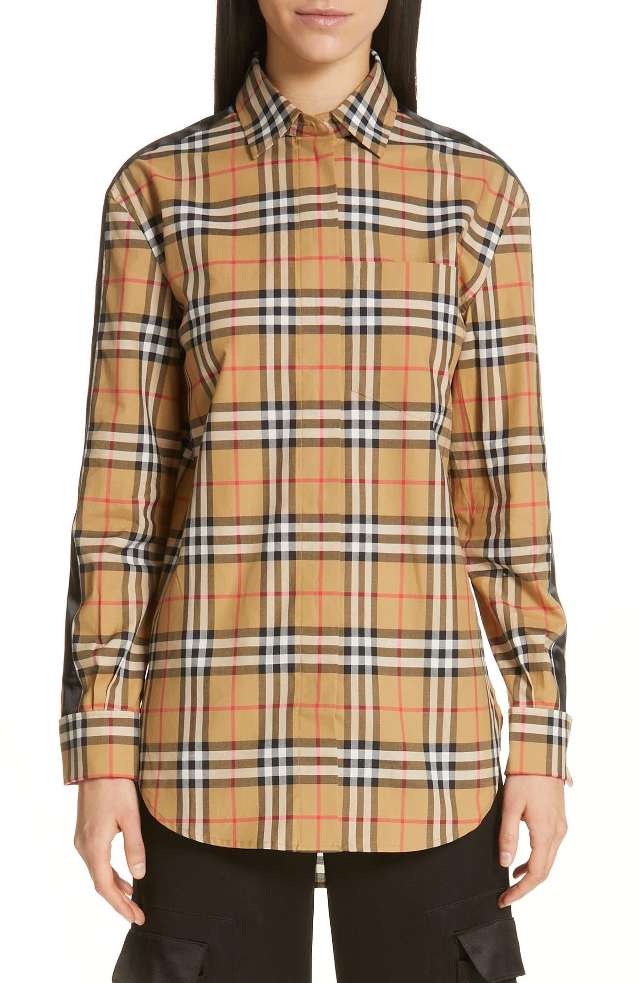 BURBERRY, Saoirse Vintage Check Cotton Shirt, Main thumbnail 1, color, ANTIQUE YELLOW CHECK