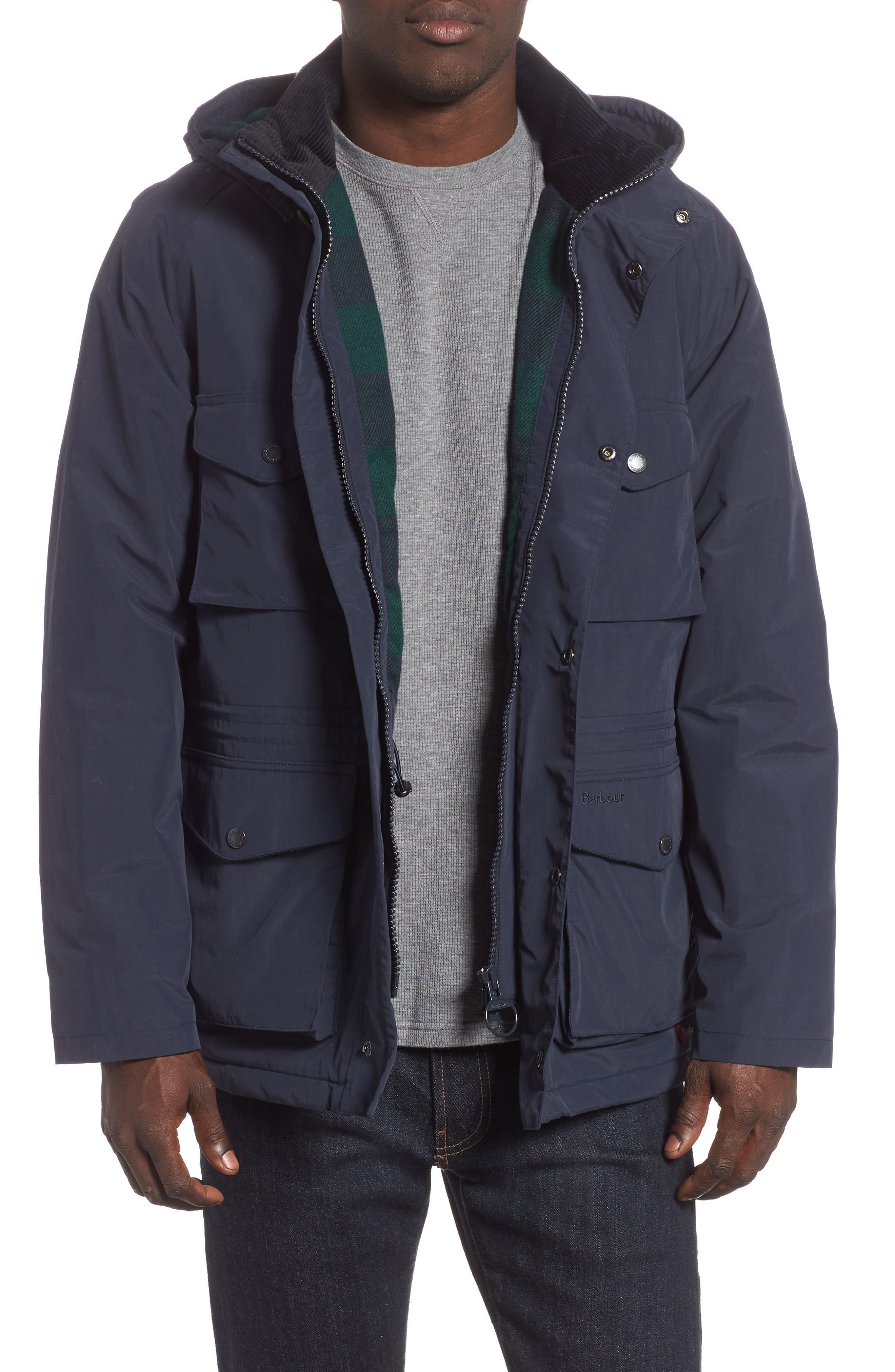 BARBOUR, Tiree Waterproof Jacket, Main thumbnail 1, color, 410
