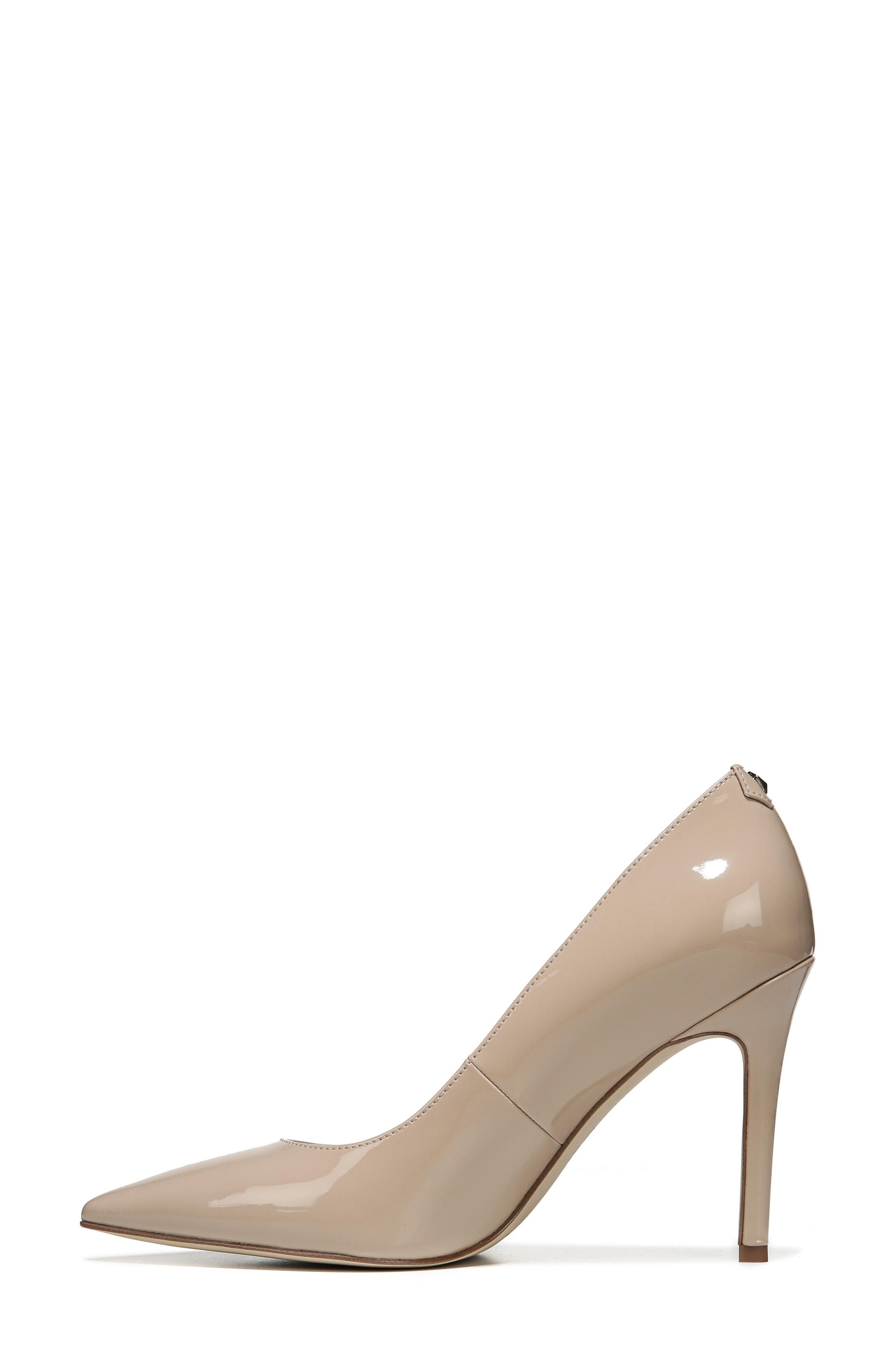 SAM EDELMAN, Hazel Pointy Toe Pump, Alternate thumbnail 2, color, NUDE LINEN PATENT LEATHER