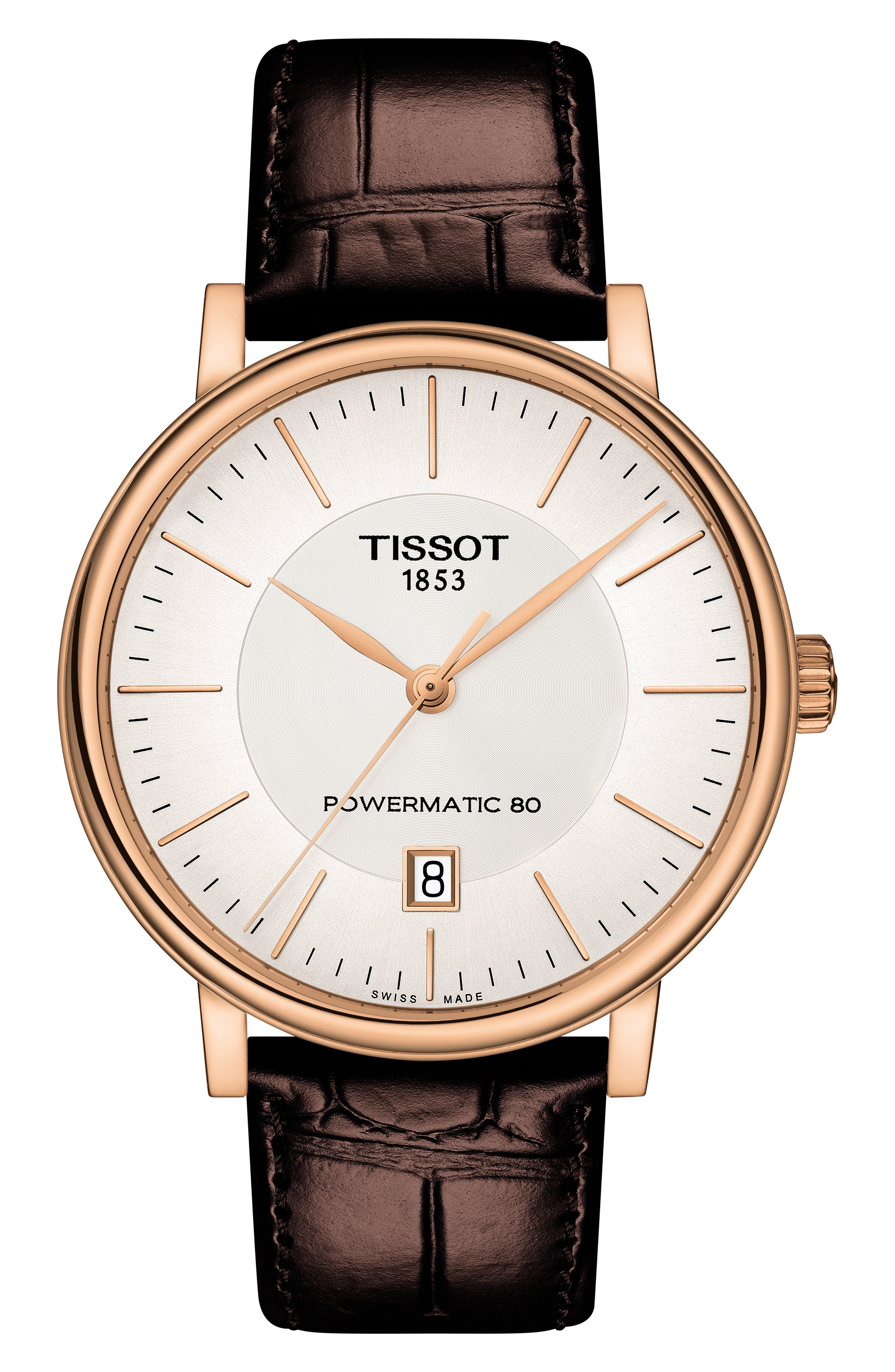 TISSOT Premium Carson Powermatic 80 Leather Strap Watch, 40mm, Main, color, BROWN/ SILVER/ ROSE GOLD