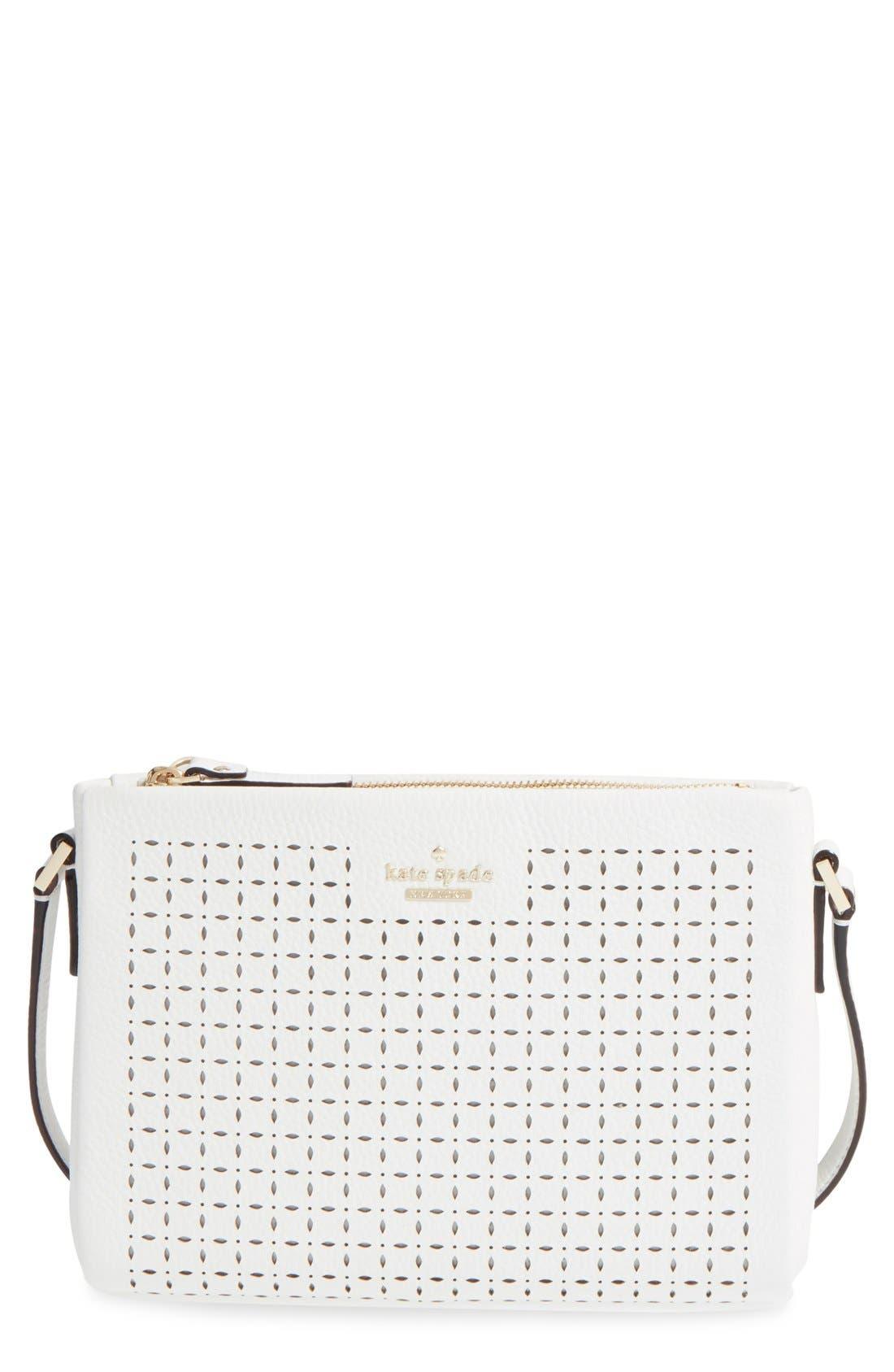 KATE SPADE NEW YORK 'milton lane - lilibeth' perforated leather crossbody bag, Main, color, 100