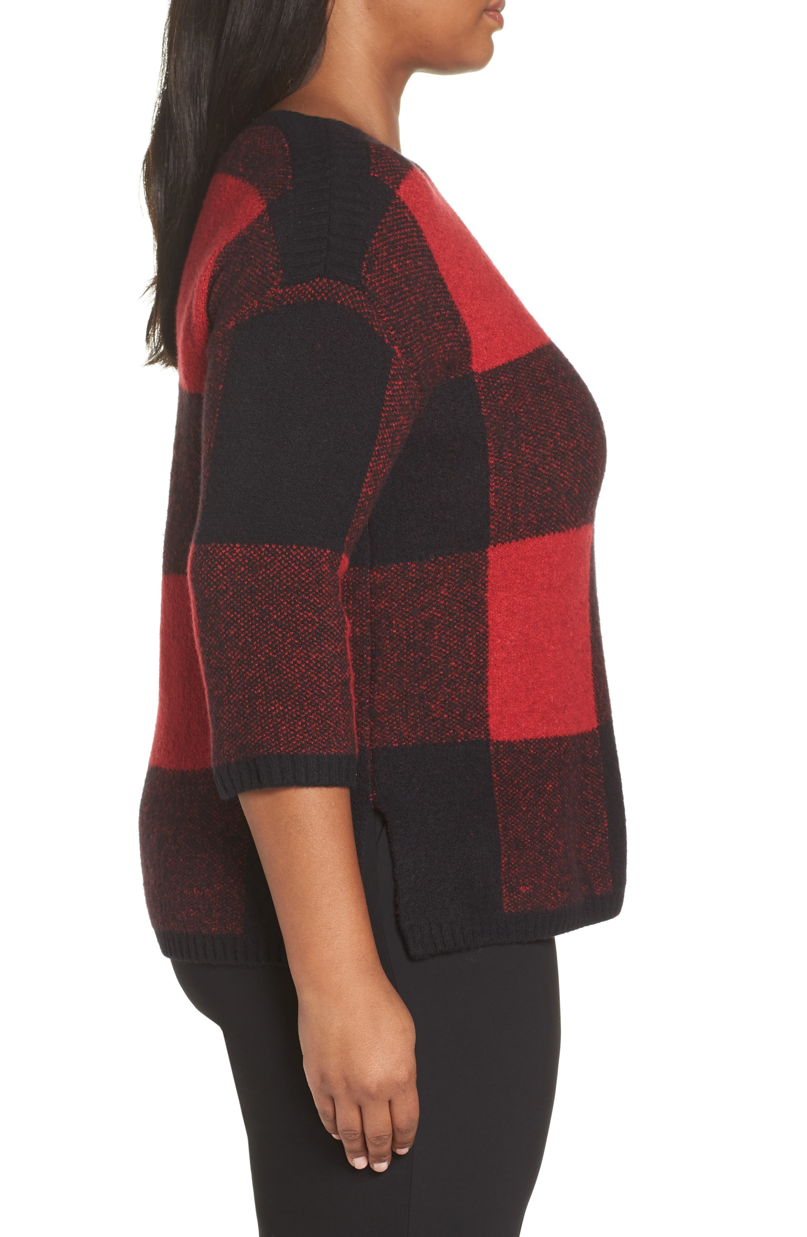SEJOUR, Buffalo Plaid Sweater, Alternate thumbnail 3, color, BLACK-RED BUFFALO CHECK