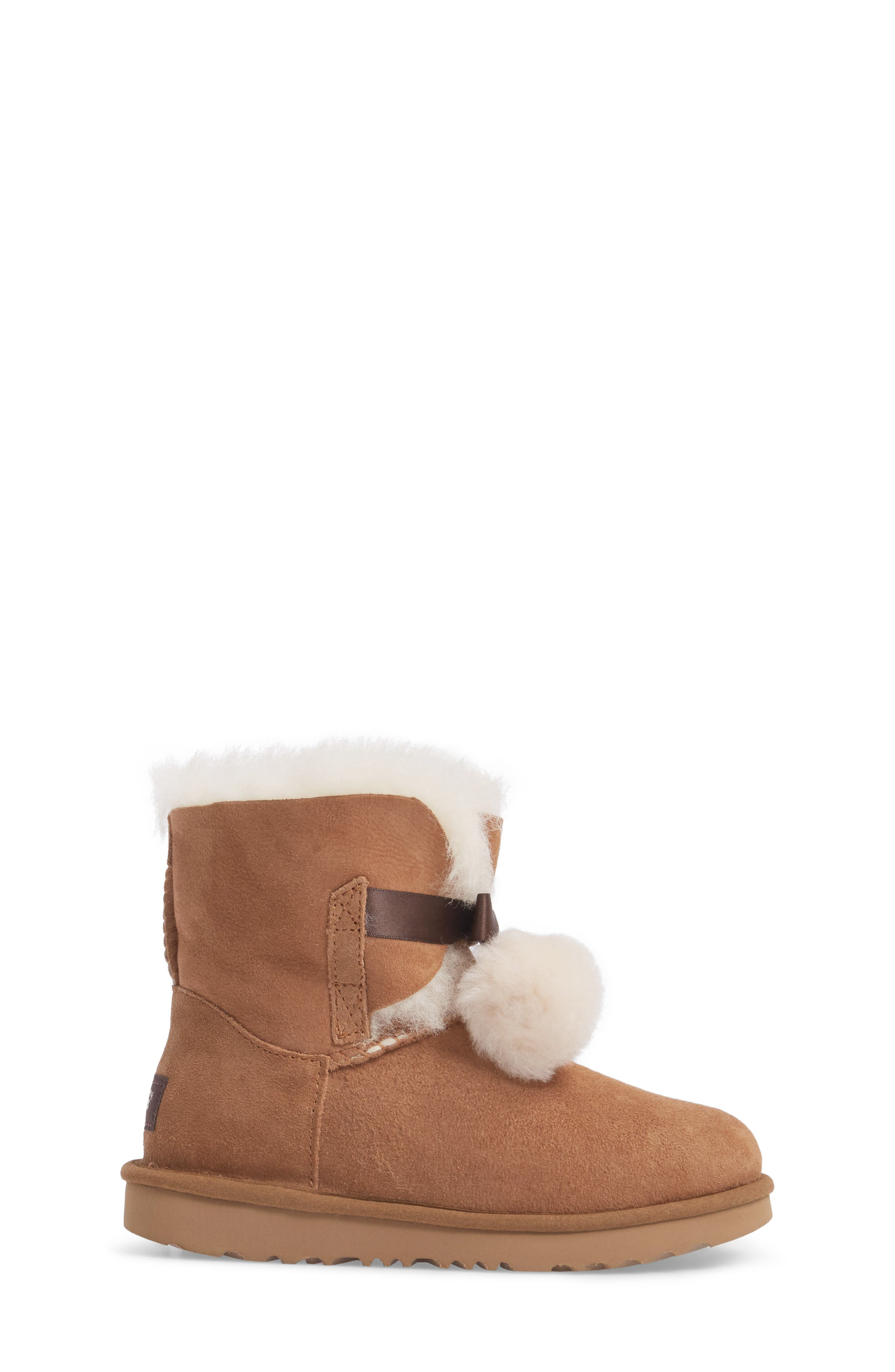 UGG<SUP>®</SUP>, Gita Water-Resistant Genuine Shearling Pom Boot, Alternate thumbnail 3, color, CHESTNUT