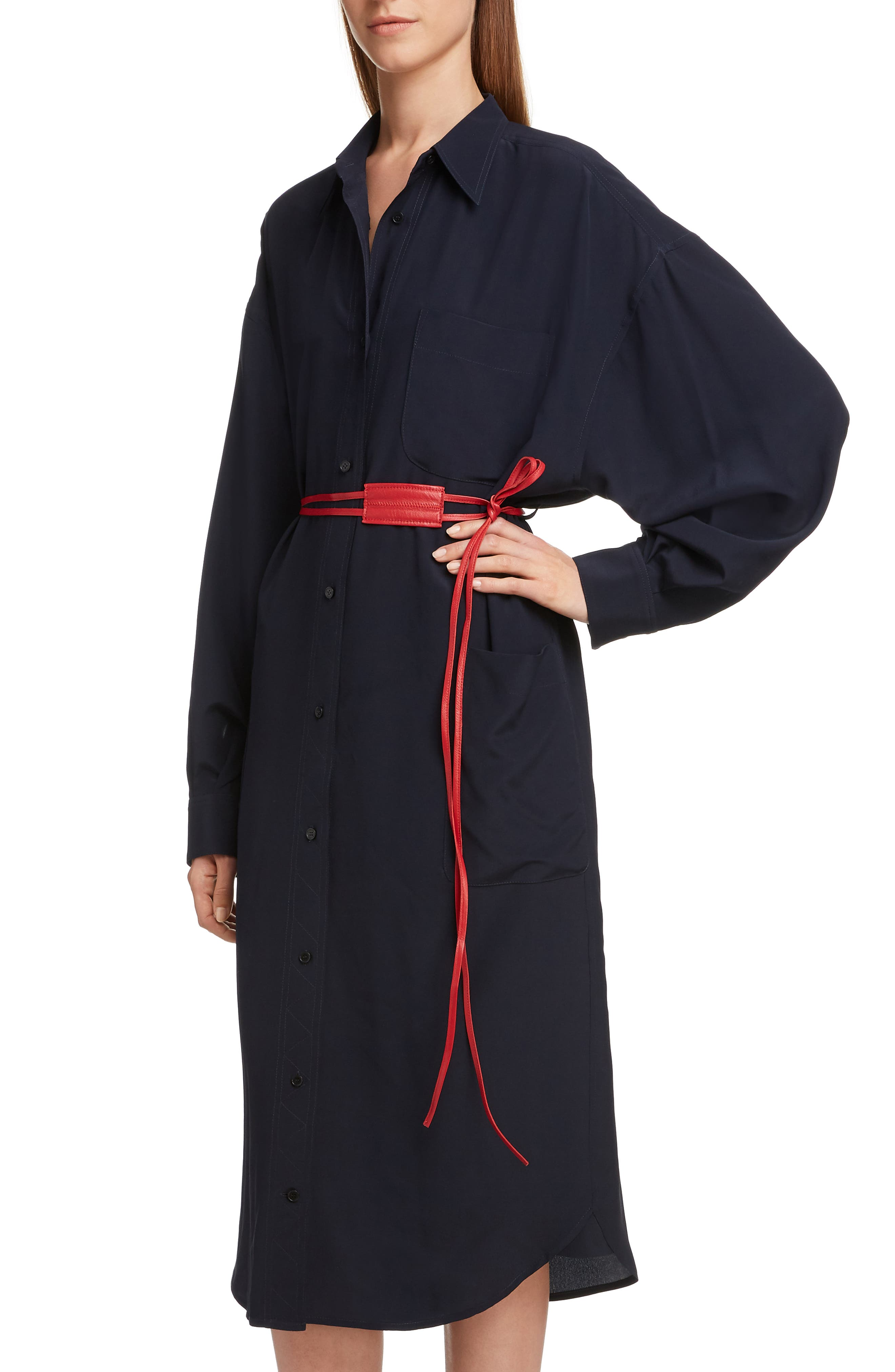 VICTORIA BECKHAM, Belted Silk Shirtdress, Alternate thumbnail 4, color, NAVY/ RED