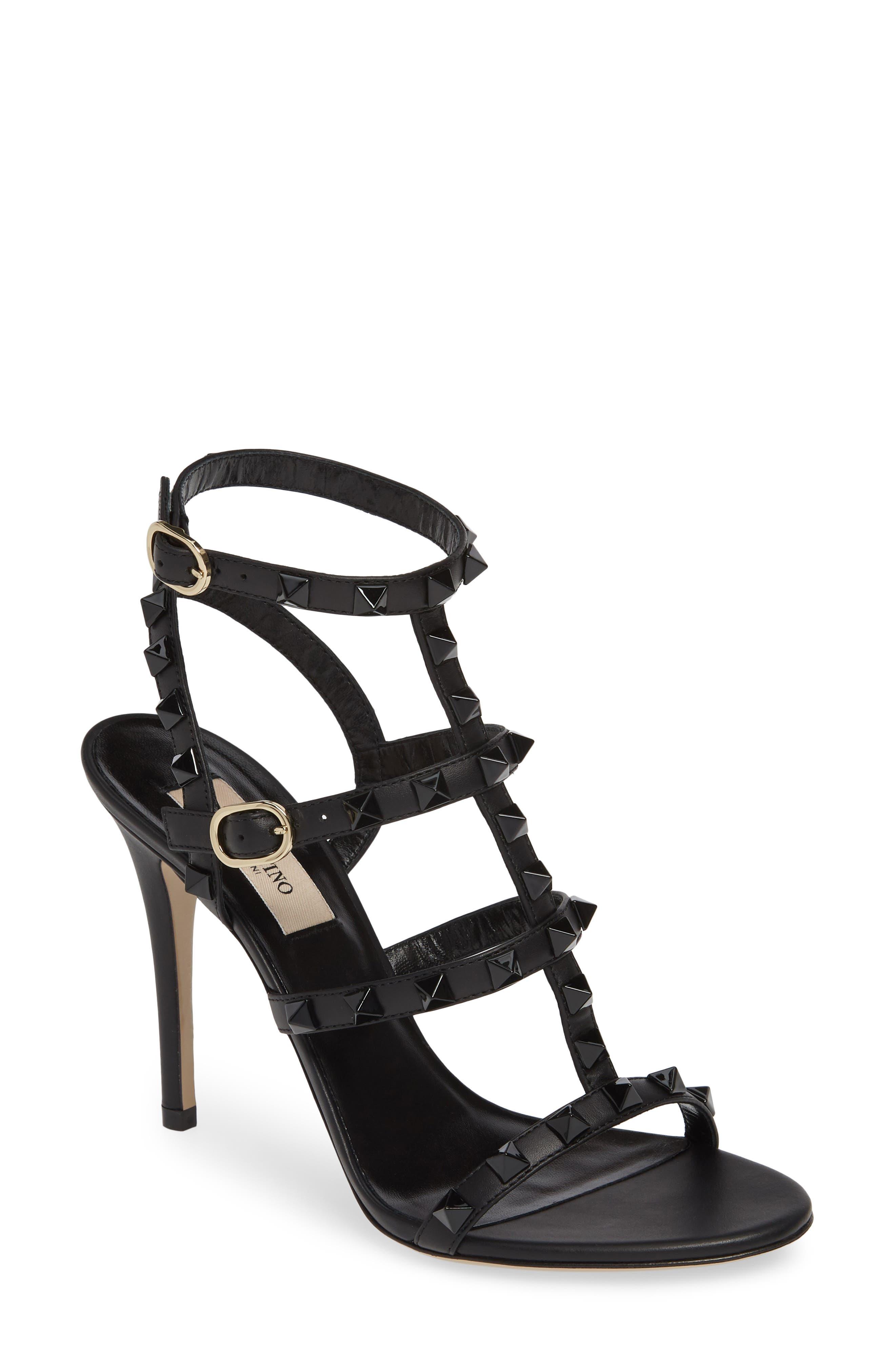 VALENTINO GARAVANI Rockstud T-Strap Sandal, Main, color, BLACK