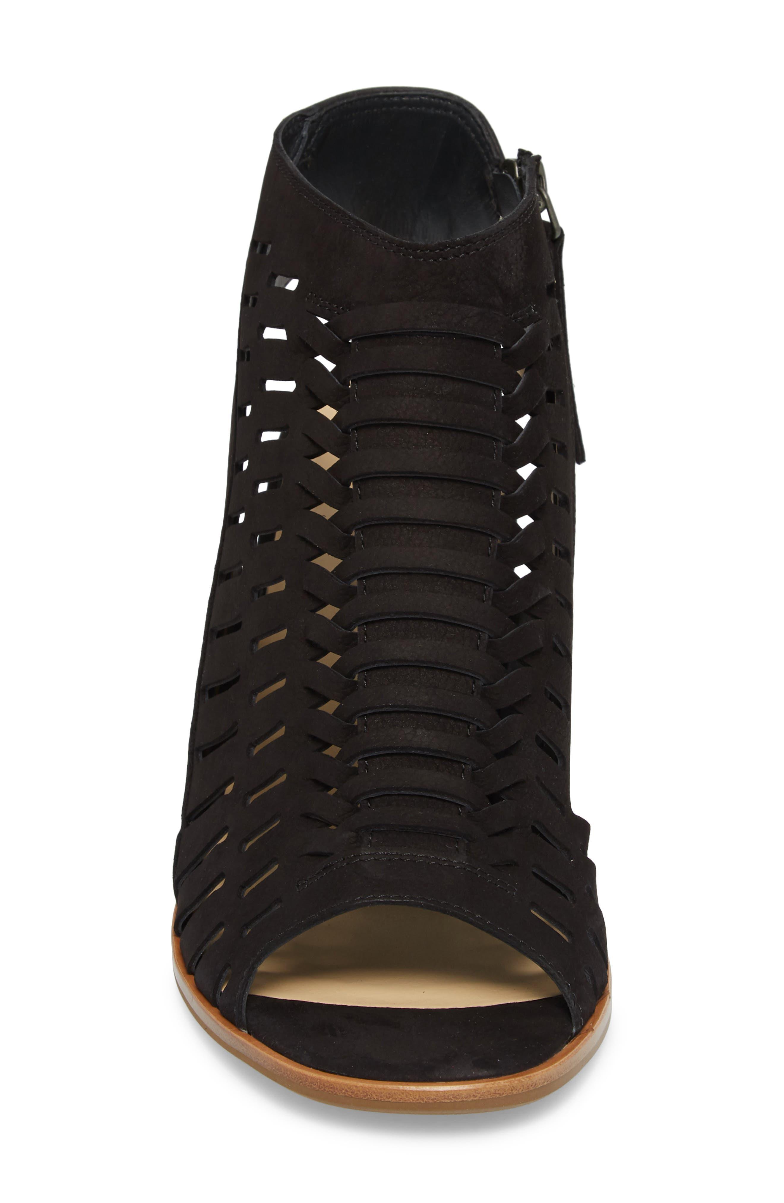 PAUL GREEN, Rosa Woven Peep Toe Sandal, Alternate thumbnail 4, color, BLACK NUBUCK