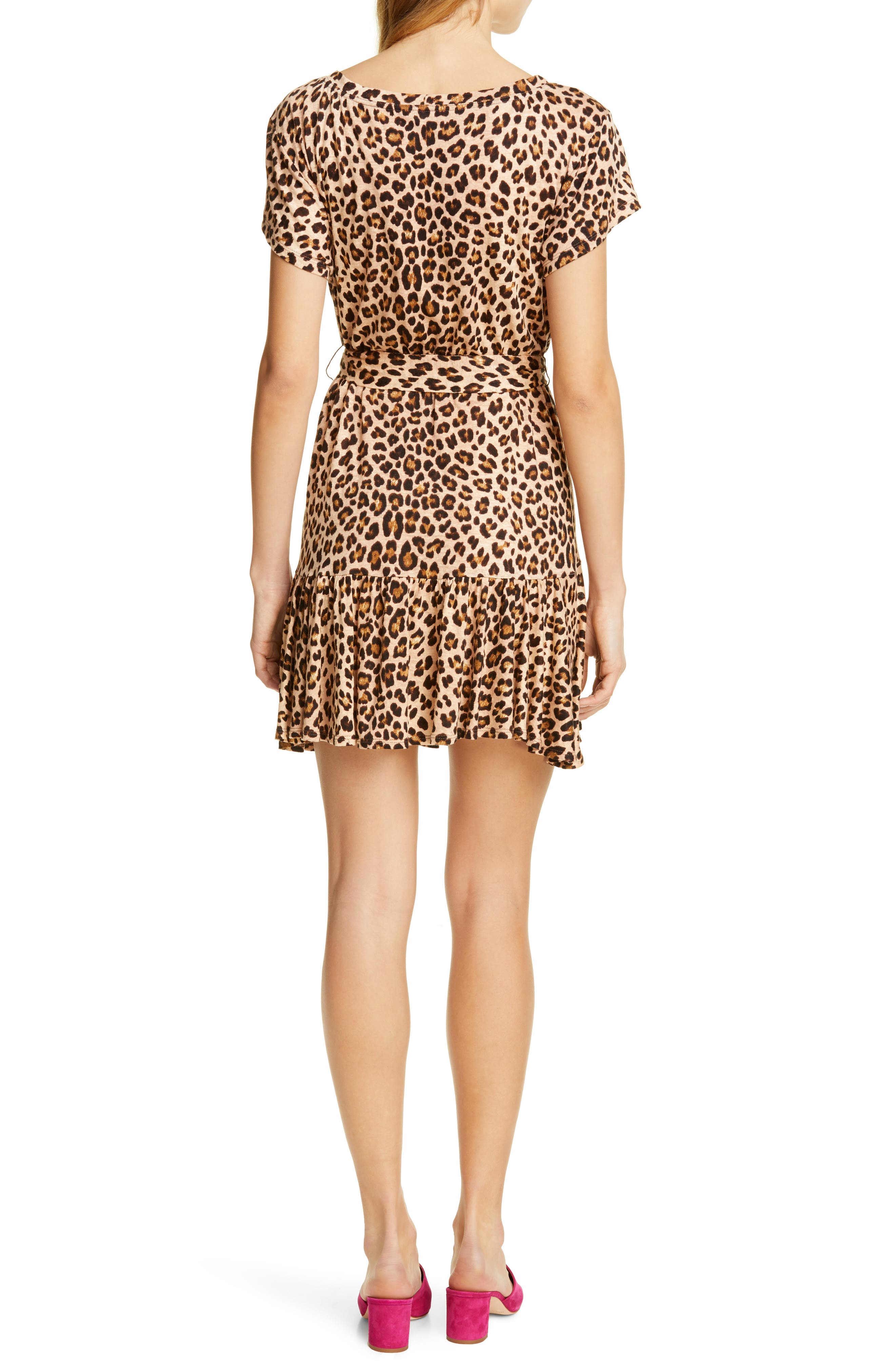REBECCA TAYLOR, Leopard Print Linen Minidress, Alternate thumbnail 2, color, BISCUIT