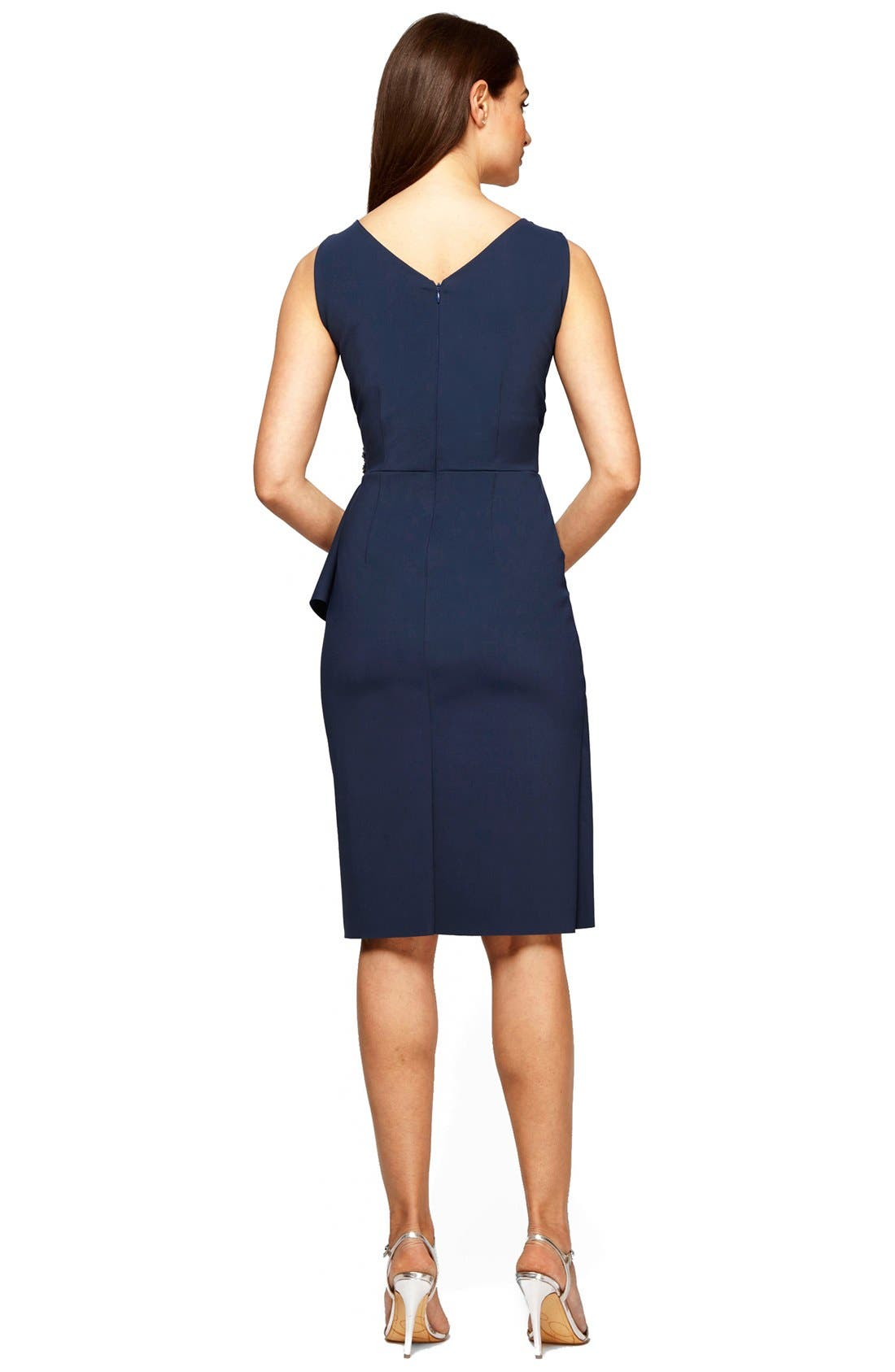 ALEX EVENINGS, Side Ruched Dress, Alternate thumbnail 4, color, NAVY