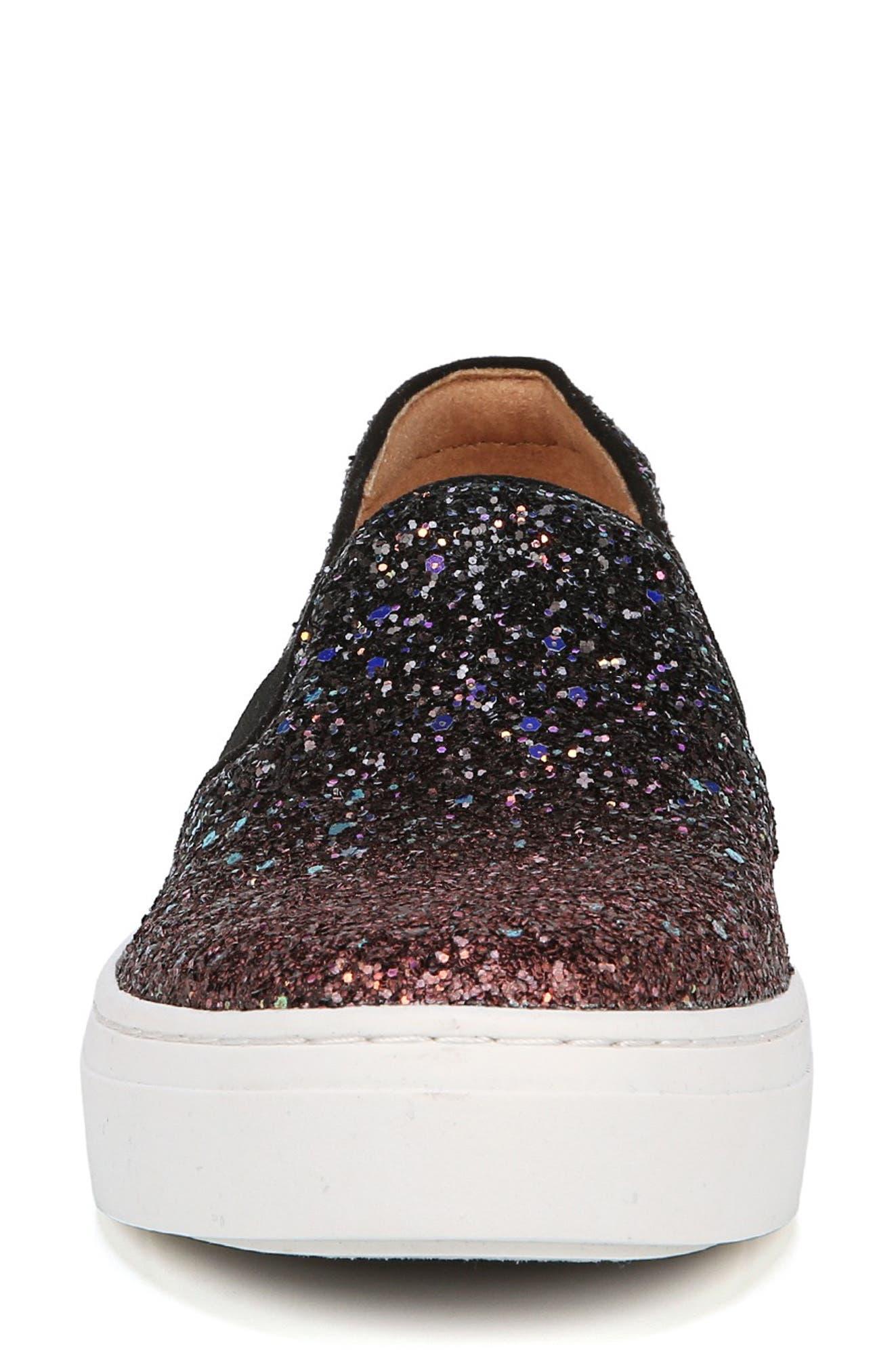NATURALIZER, Carly Slip-On Sneaker, Alternate thumbnail 3, color, MULTI GLITTER FABRIC