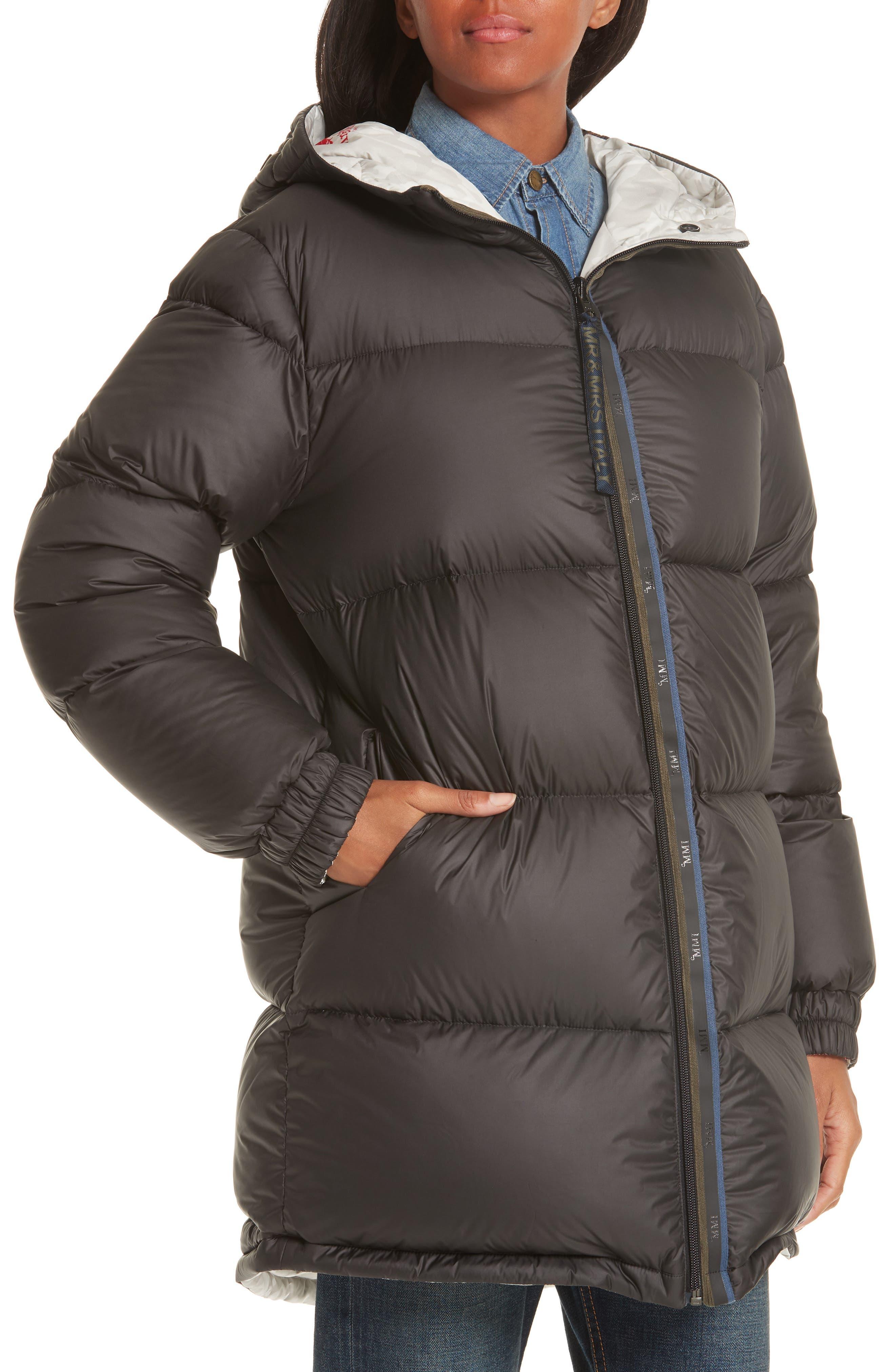 MR & MRS ITALY, Genuine Fox Fur Trim Down Fill Puffer Coat, Alternate thumbnail 6, color, BLACK