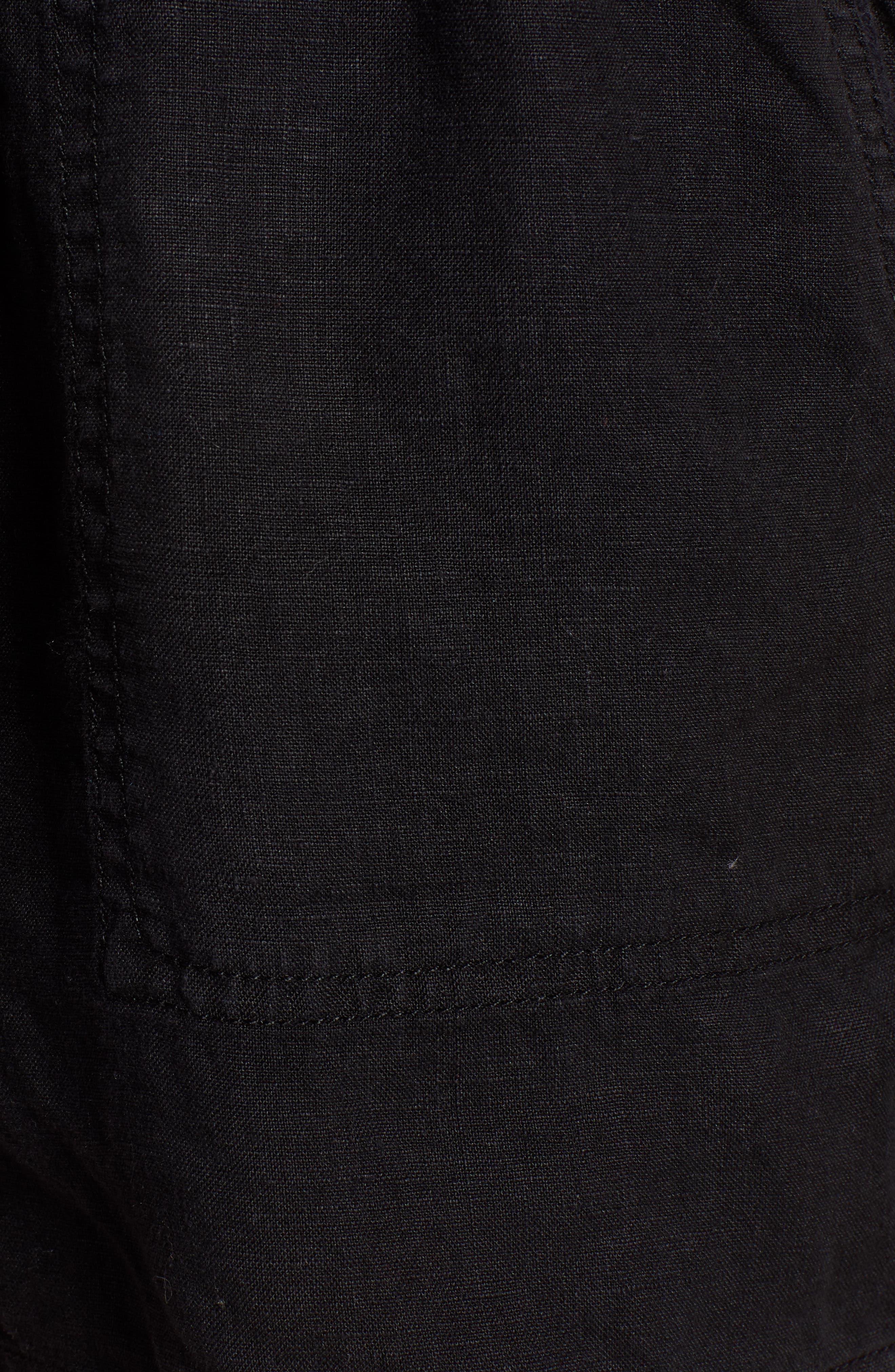 CASLON<SUP>®</SUP>, Linen Shorts, Alternate thumbnail 5, color, BLACK
