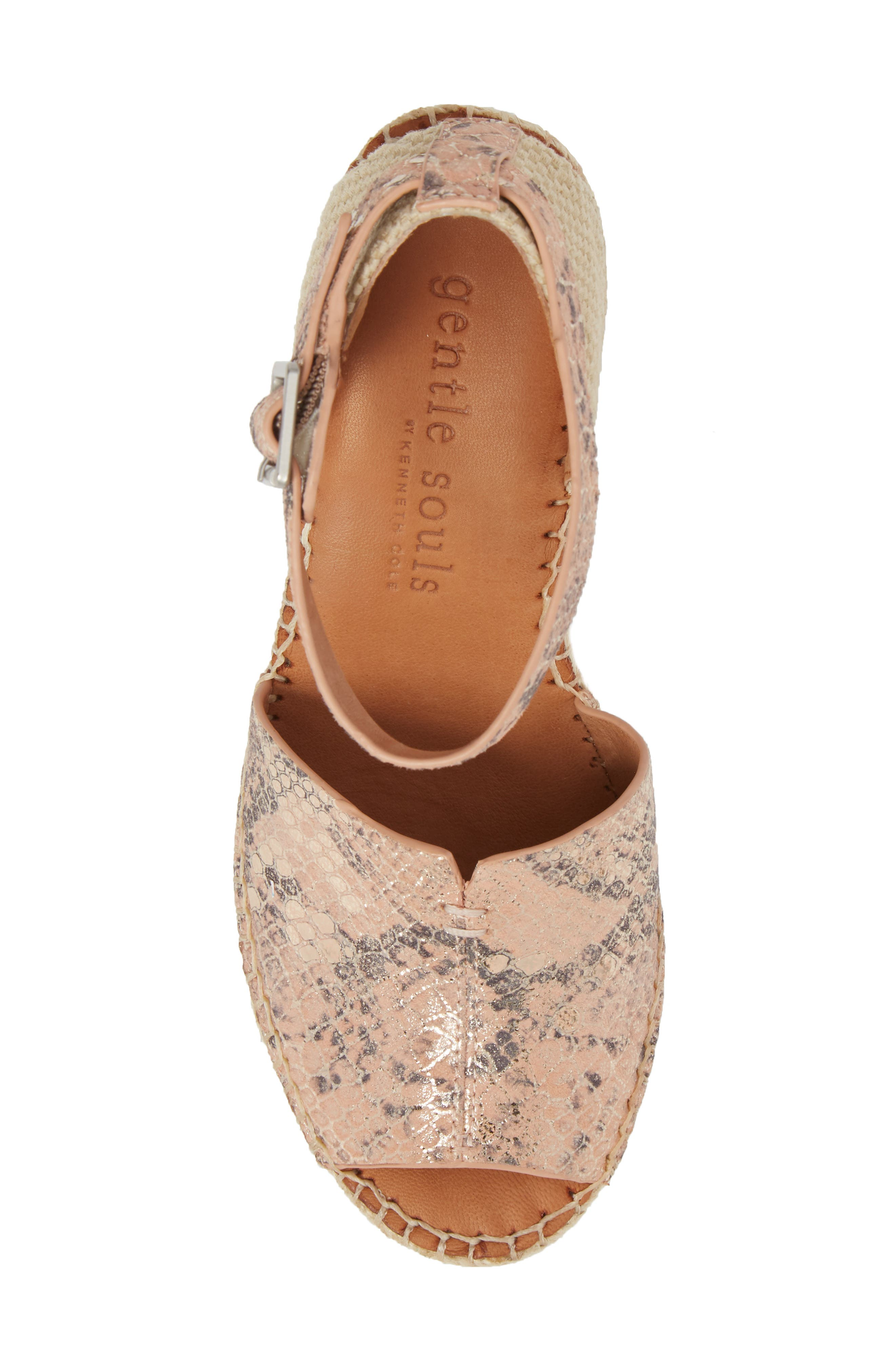 GENTLE SOULS BY KENNETH COLE, Charli Espadrille Wedge, Alternate thumbnail 5, color, ROSE METALLIC LEATHER