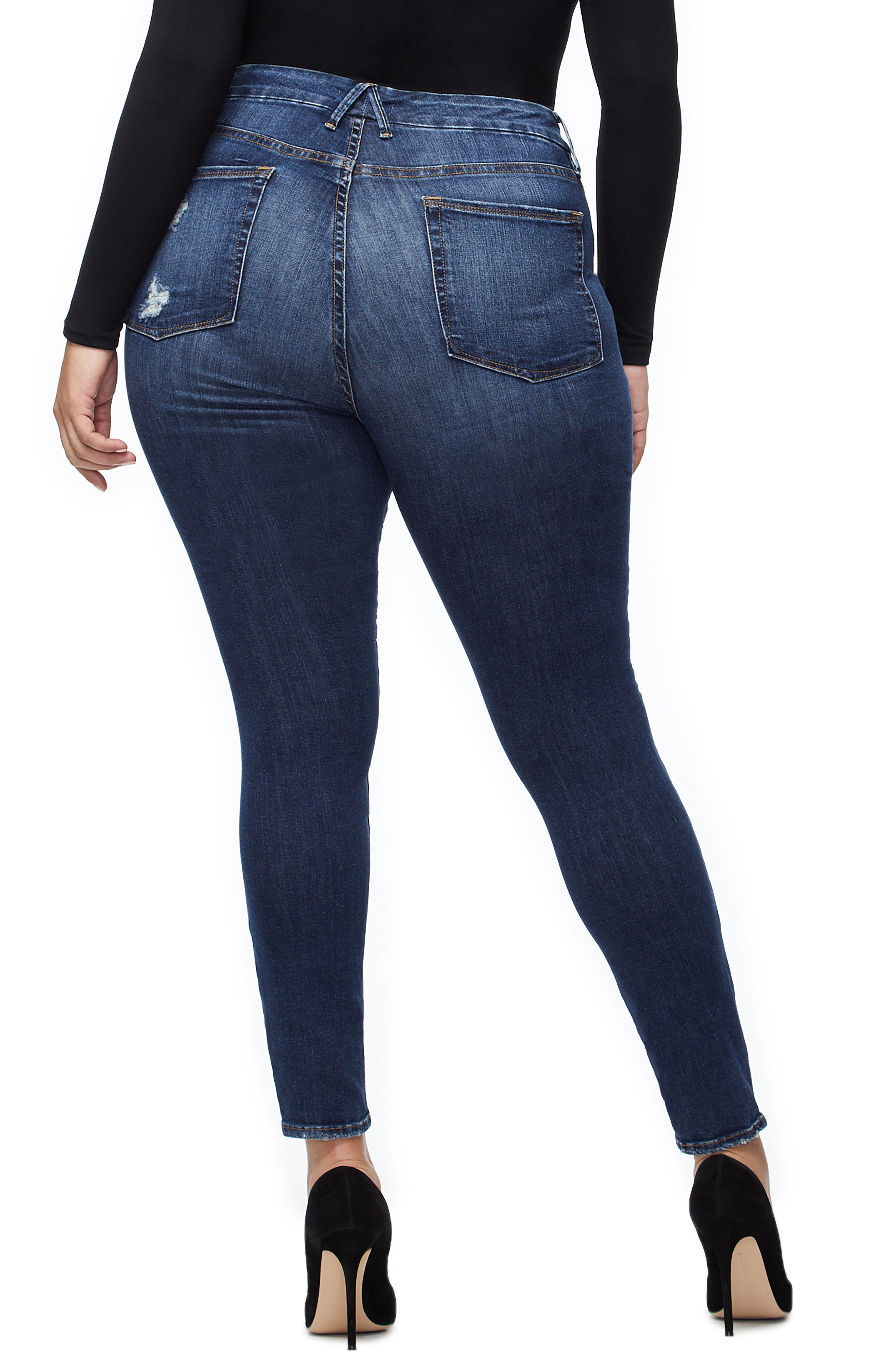 GOOD AMERICAN, Good Legs Cheetah Pockets High Waist Jeans, Alternate thumbnail 7, color, BLUE203