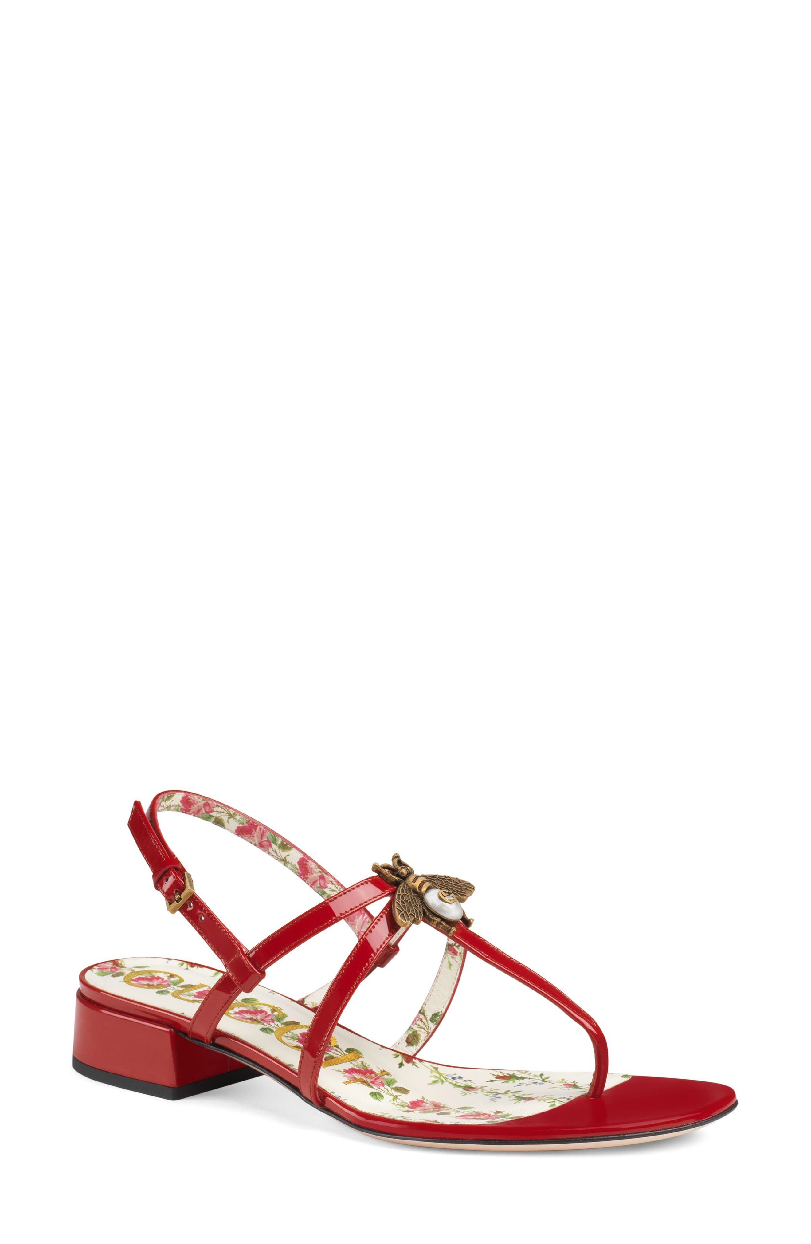 GUCCI, Bee Thong Sandal, Main thumbnail 1, color, HIBISCUS RED