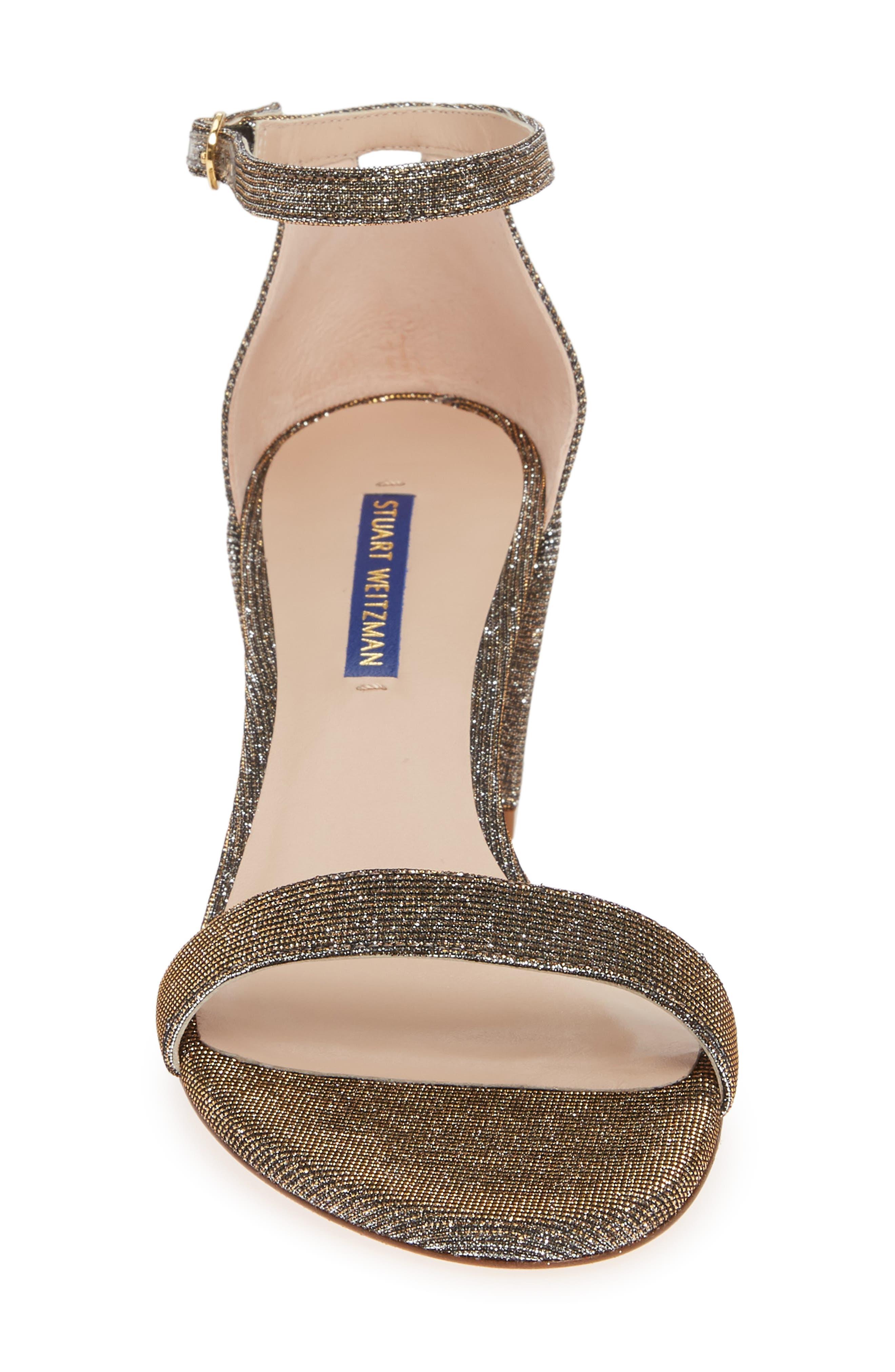 STUART WEITZMAN, Simple Ankle Strap Sandal, Alternate thumbnail 4, color, GOLD NIGHTTIME