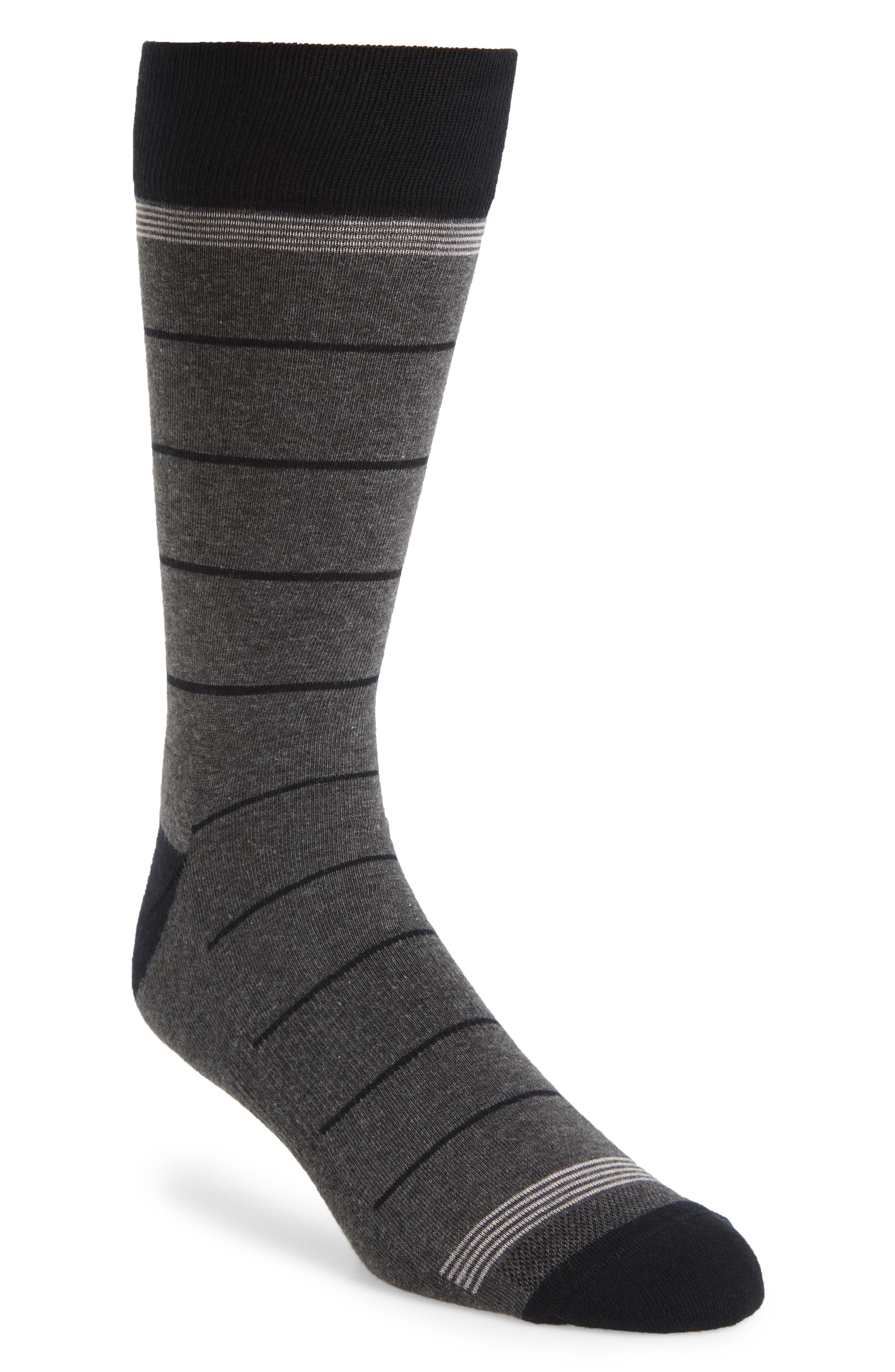 NORDSTROM MEN'S SHOP, Stripe Socks, Main thumbnail 1, color, CHARCOAL/ BLACK