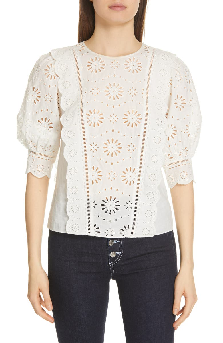 Veronica Beard Tops GALE EYELET BLOUSE