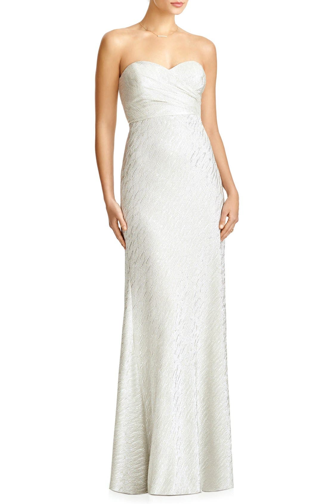 JY JENNY YOO, 'Soho' Metallic Strapless Empire Waist Gown, Main thumbnail 1, color, CHAMPAGNE SILVER