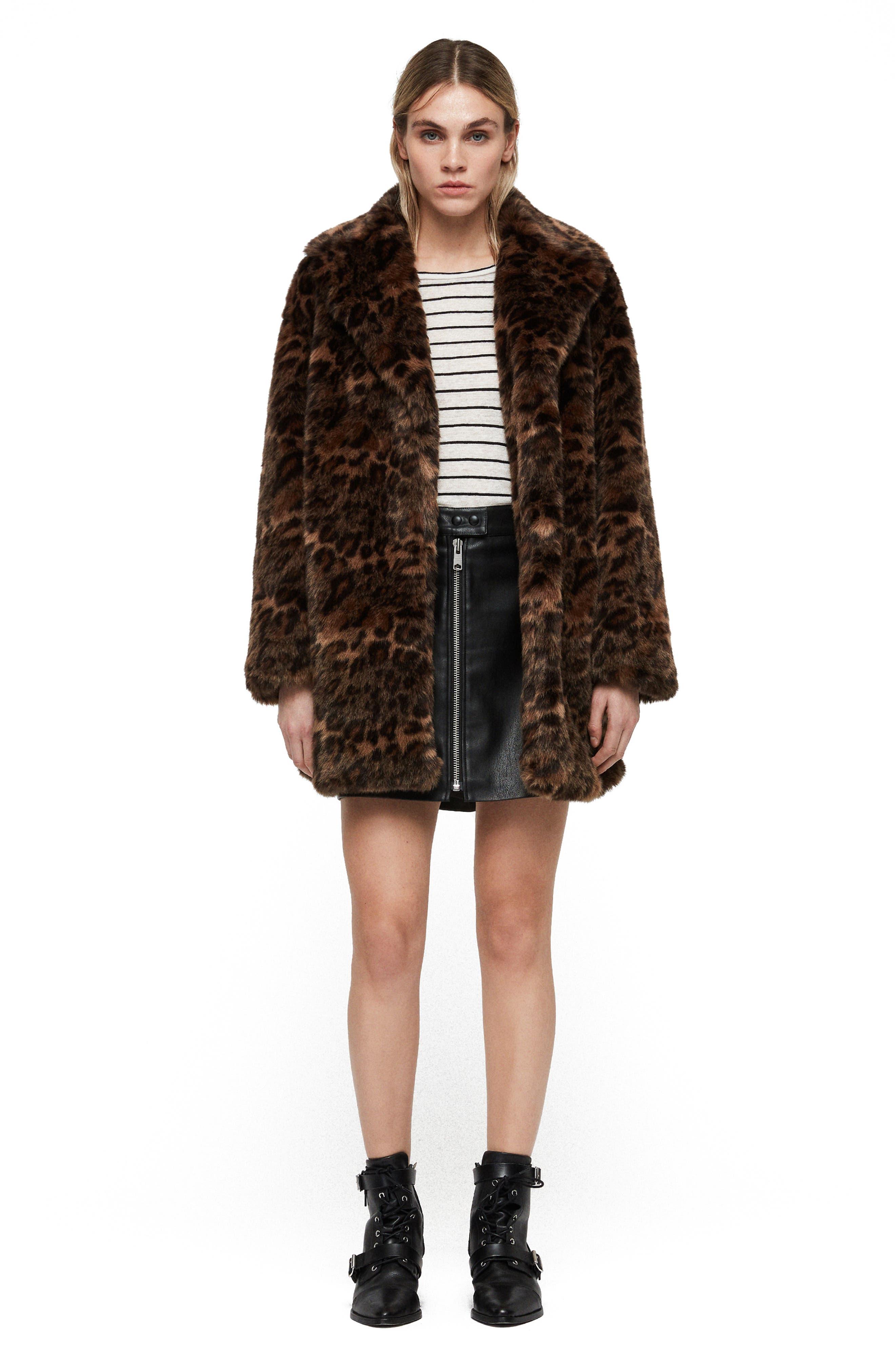 ALLSAINTS, Amice Leopard Spot Faux Fur Jacket, Alternate thumbnail 7, color, 200
