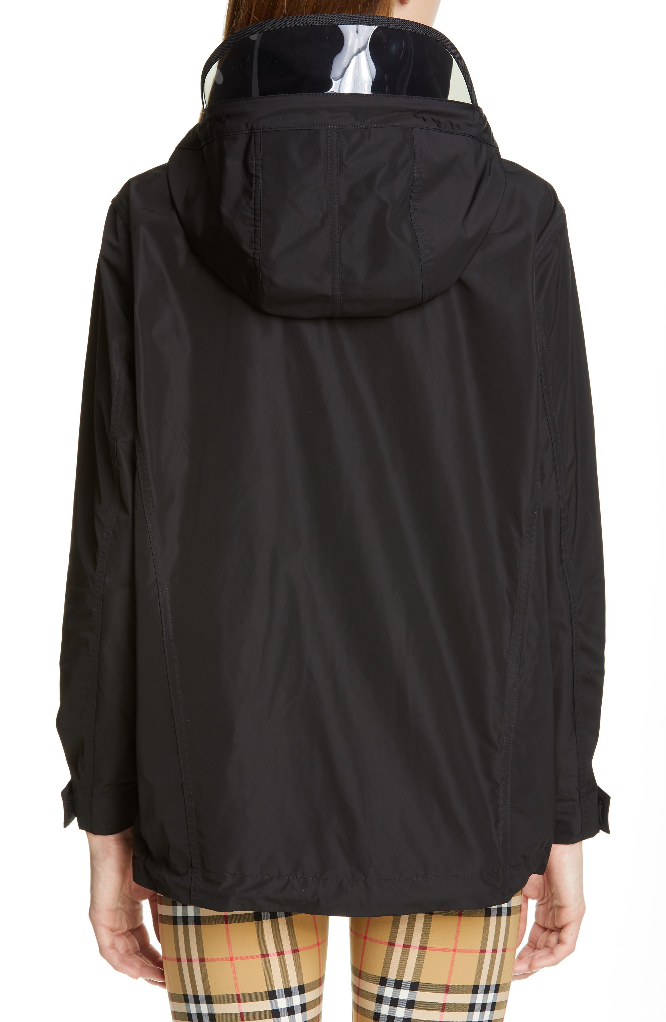 BURBERRY, Kway Millport Logo Print Waterproof Taffeta Jacket, Alternate thumbnail 3, color, BLACK