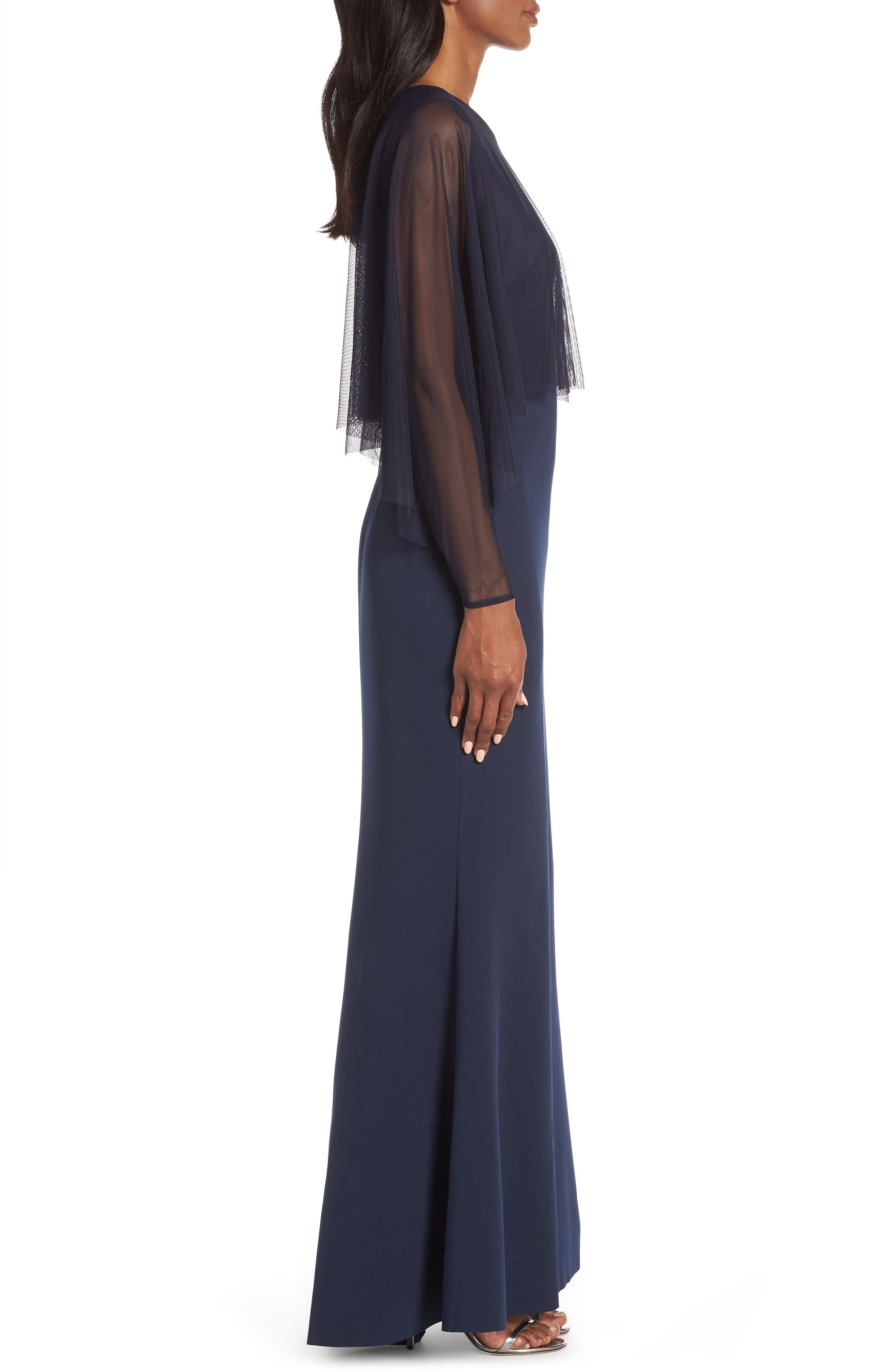 ELIZA J, Mesh Popover Sleeve Scuba Evening Dress, Alternate thumbnail 5, color, NAVY