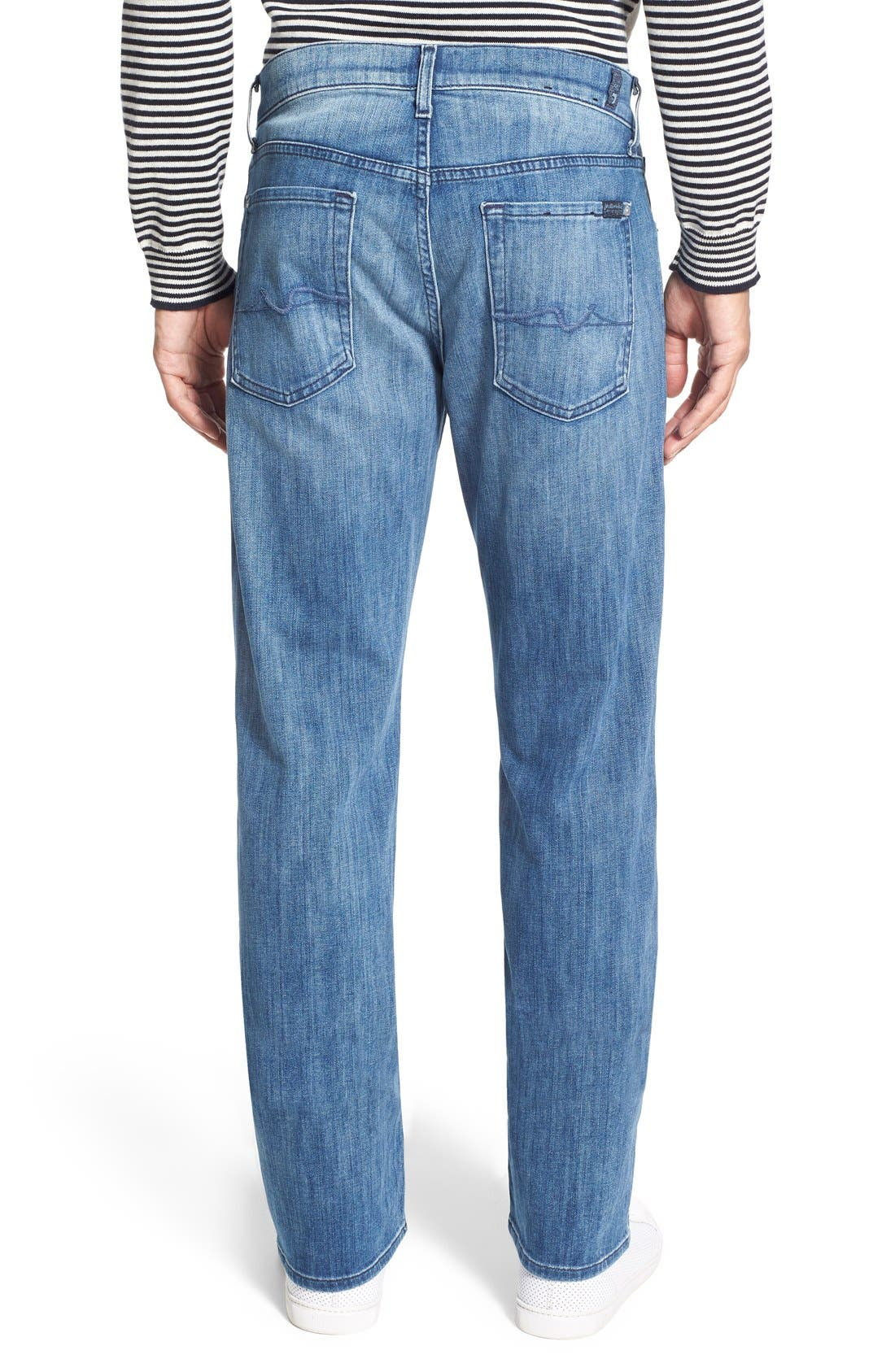 7 FOR ALL MANKIND<SUP>®</SUP>, Luxe Performance - Austyn Relaxed Straight Leg Jeans, Alternate thumbnail 4, color, NAKKITTA BLUE
