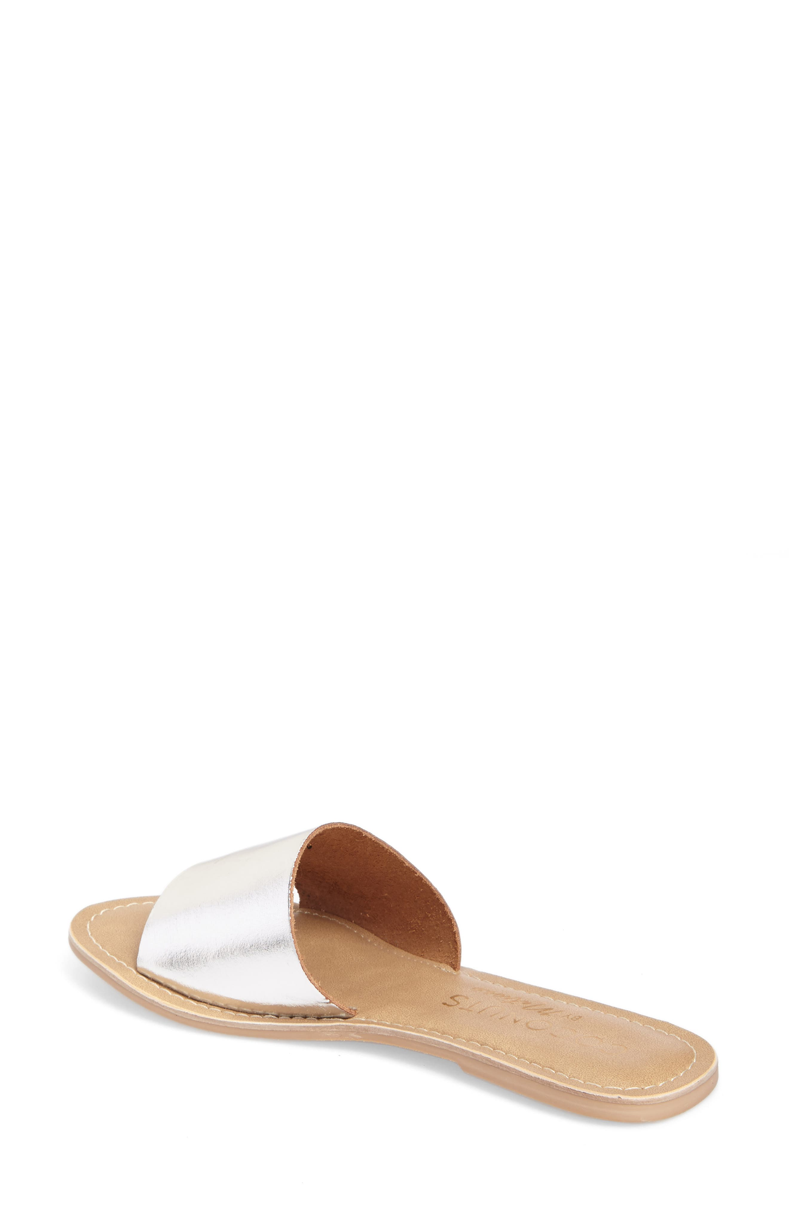 COCONUTS BY MATISSE, Cabana Slide Sandal, Alternate thumbnail 2, color, SILVER LEATHER