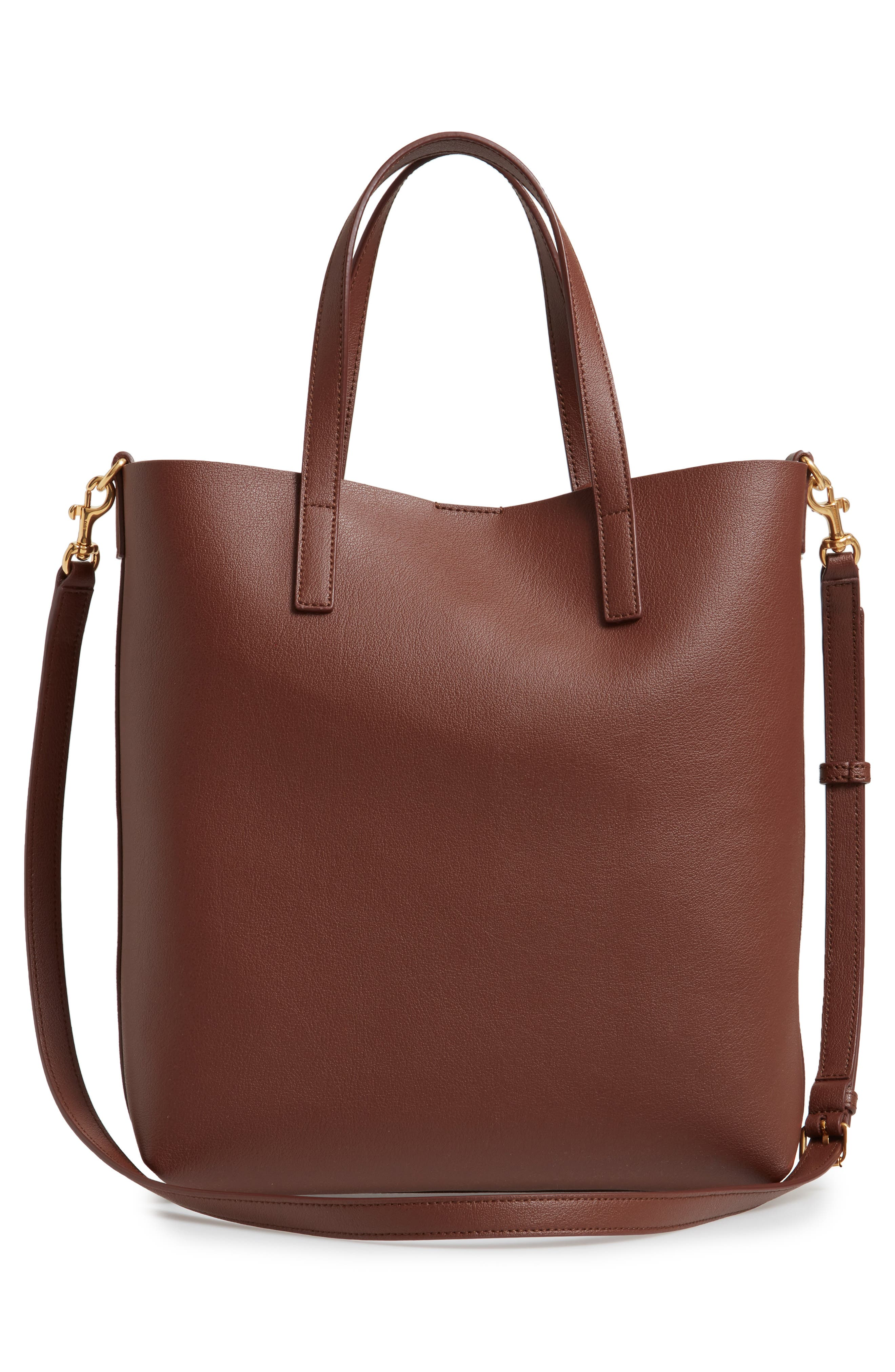 SAINT LAURENT, Toy Shopping Leather Tote, Alternate thumbnail 3, color, BRANDY OLD