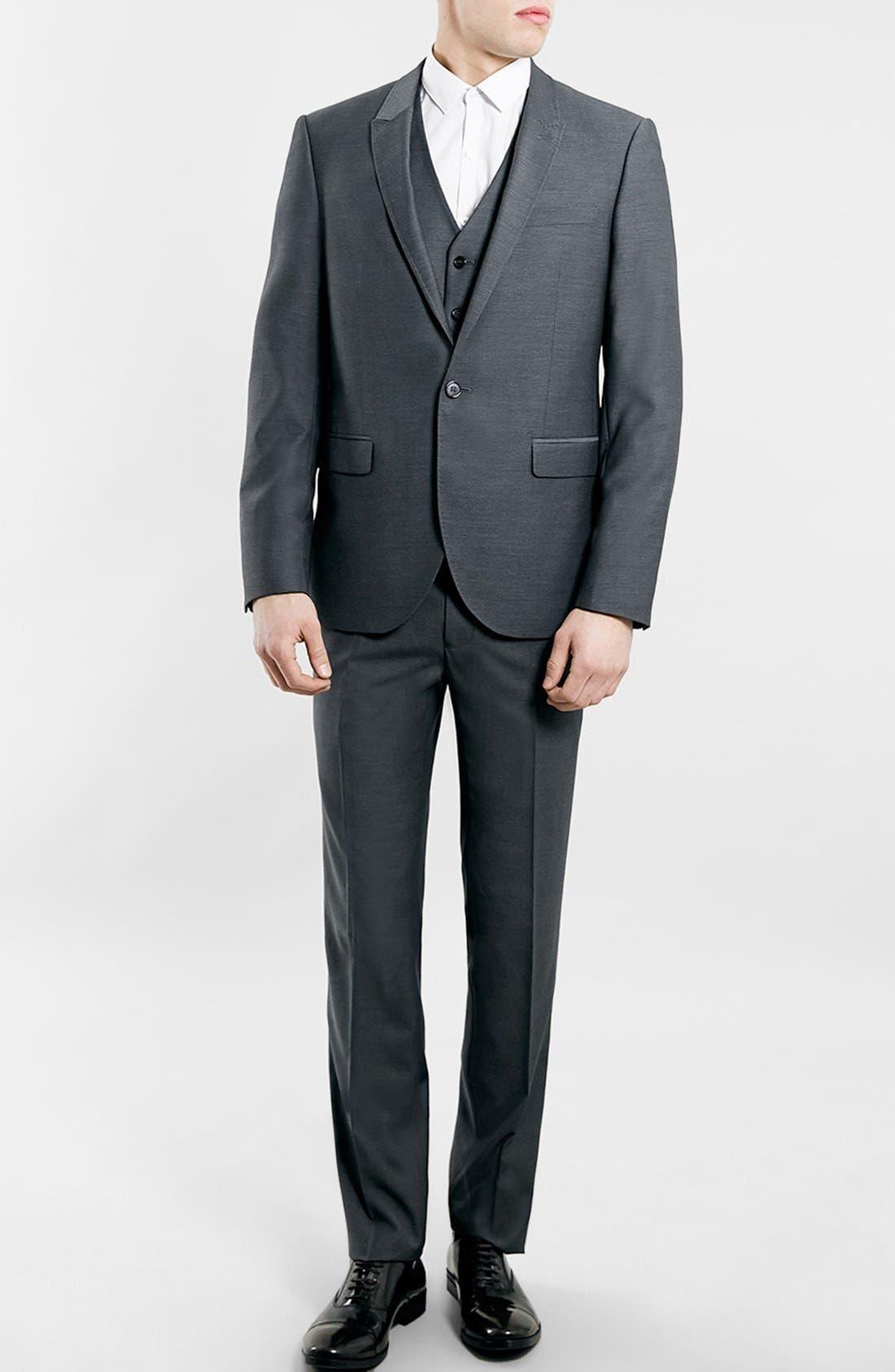 TOPMAN, Slim Fit Grey Diamond Texture Suit Jacket, Alternate thumbnail 4, color, 020