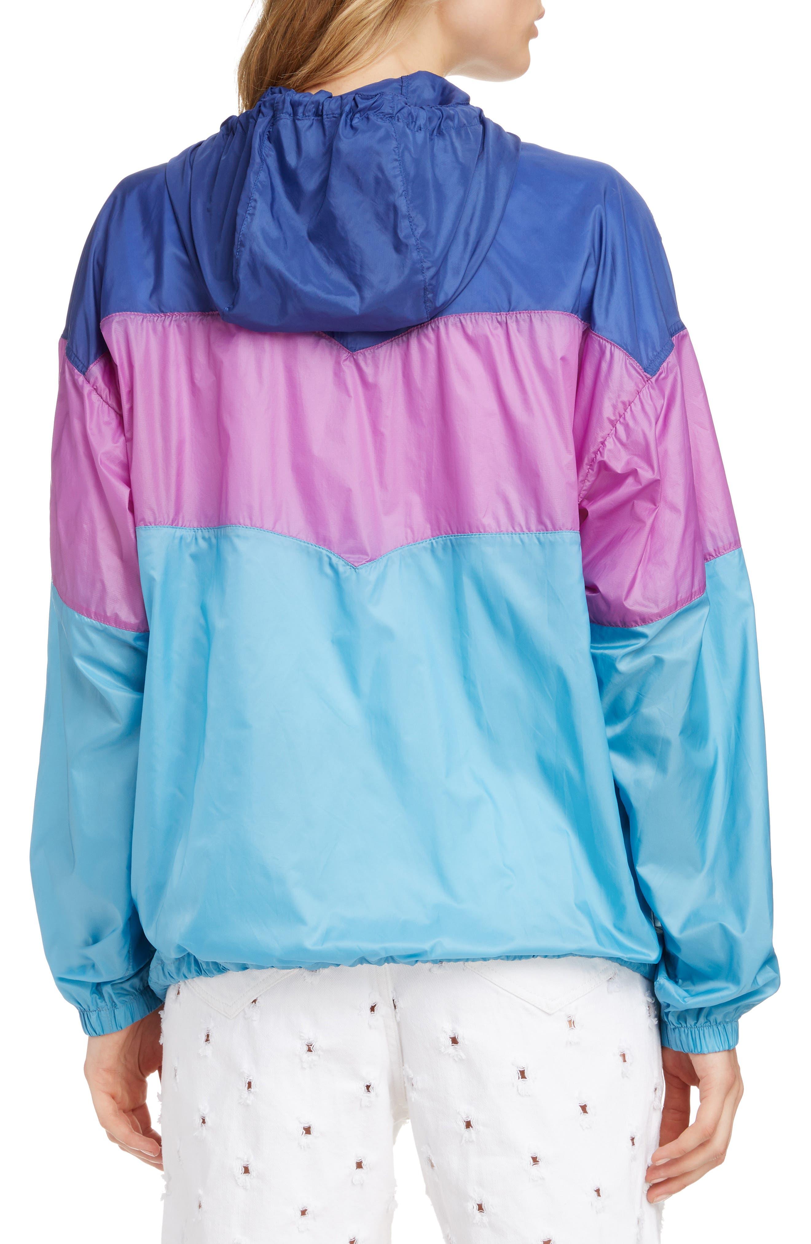 ISABEL MARANT ÉTOILE, Kyriel Colorblock Hooded Jacket, Alternate thumbnail 2, color, ELECTRIC BLUE/ VIOLET