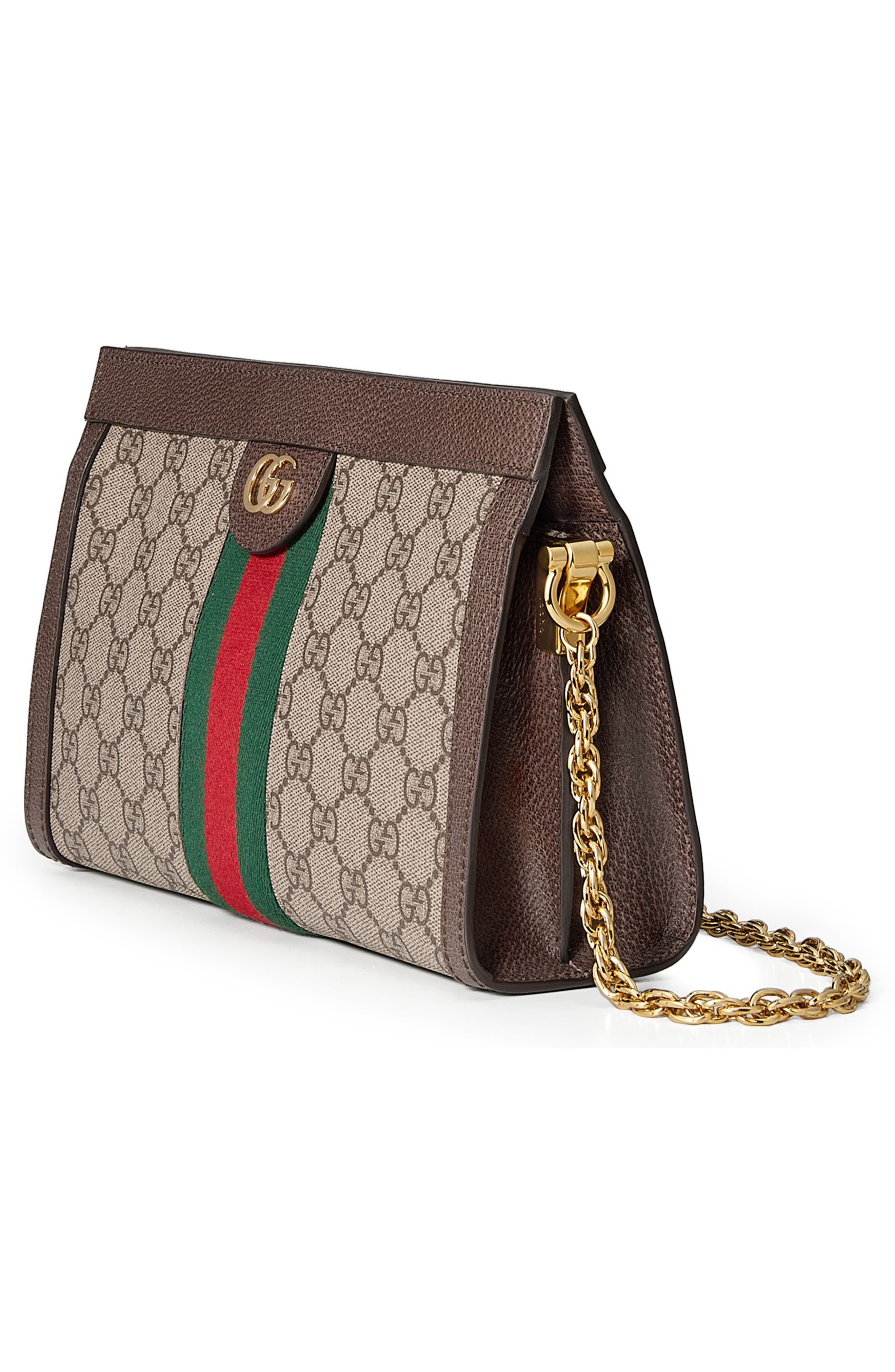 GUCCI, Small GG Supreme Shoulder Bag, Alternate thumbnail 5, color, BEIGE EBONY/ NERO/ VERT/ RED