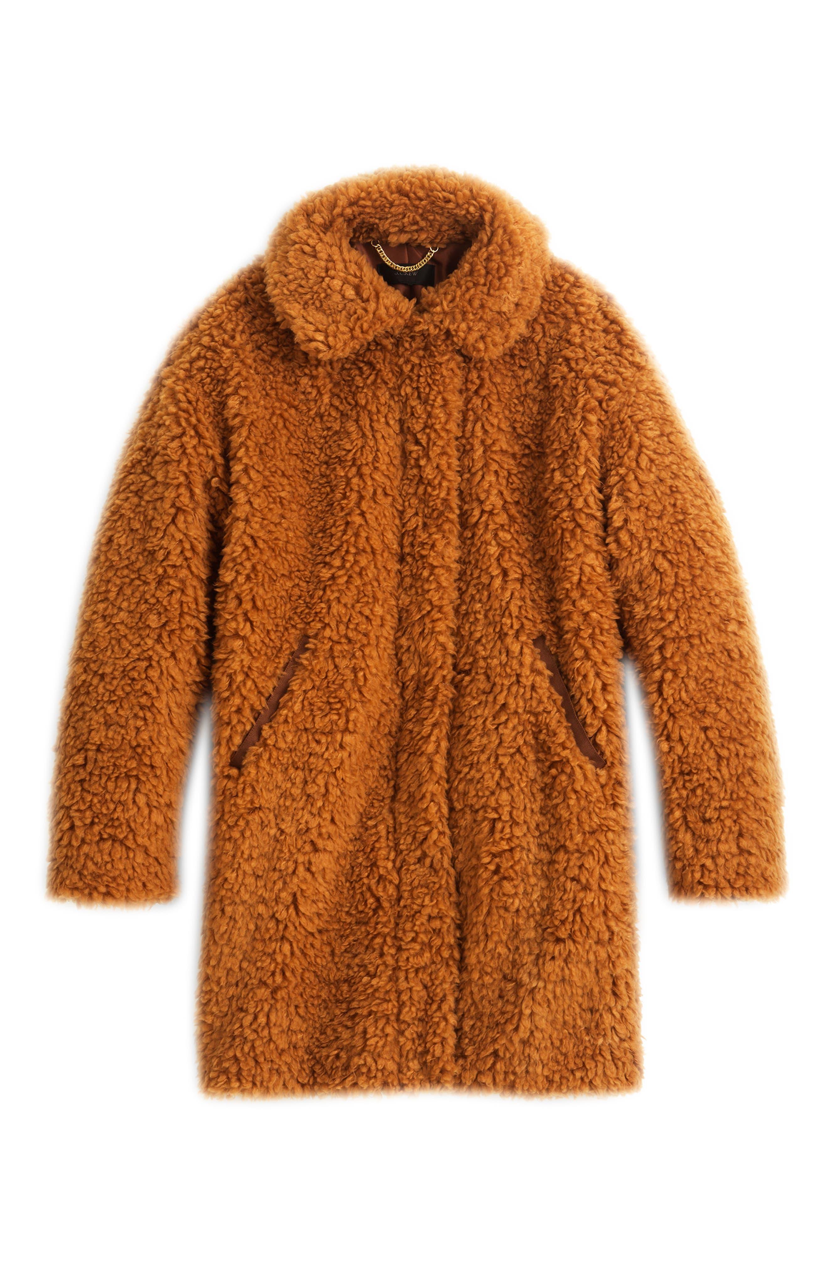 J.CREW Teddy Faux Fur Coat, Main, color, 200