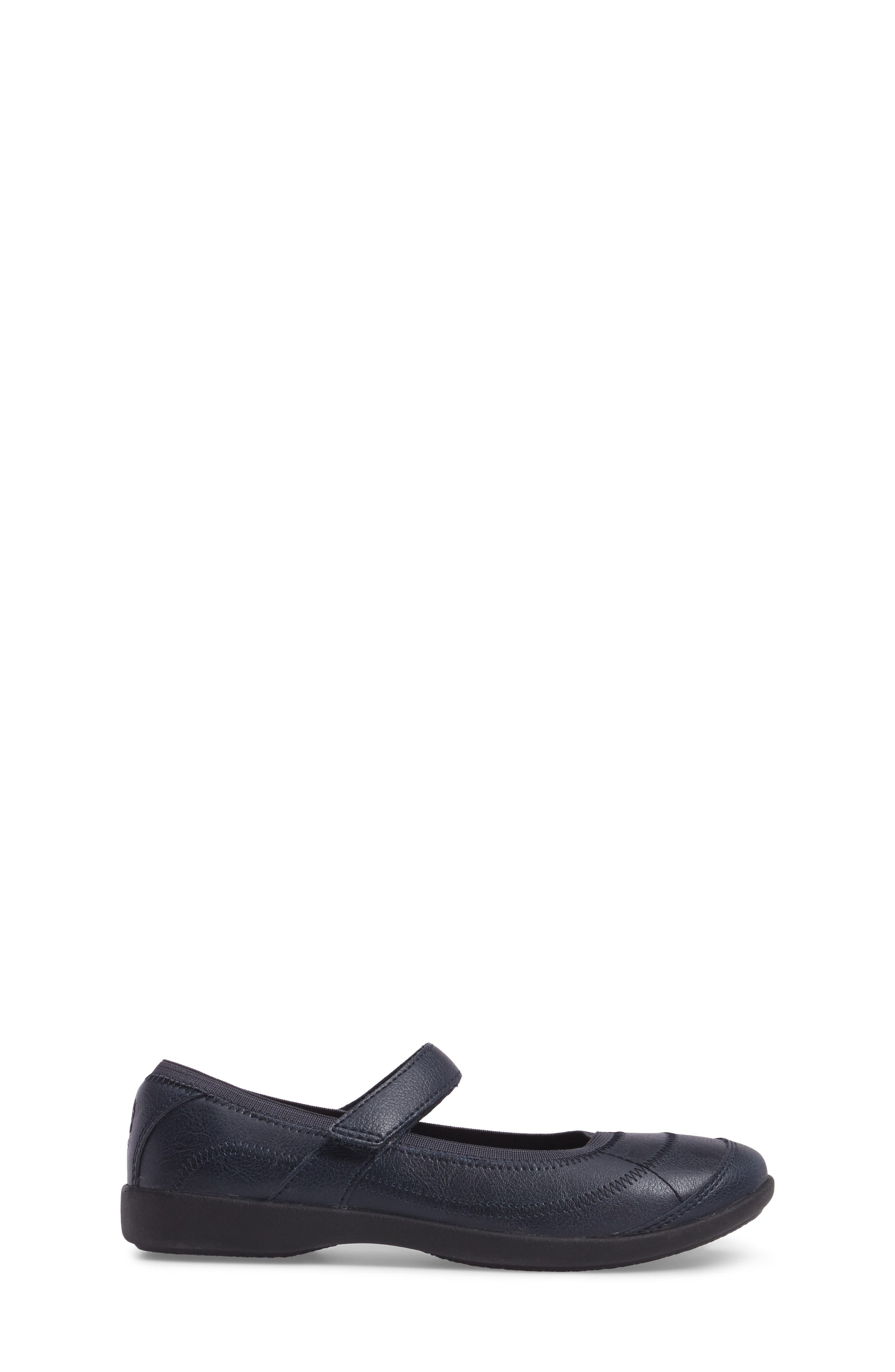 HUSH PUPPIES<SUP>®</SUP>, Reese Mary Jane Flat, Alternate thumbnail 3, color, NAVY LEATHER