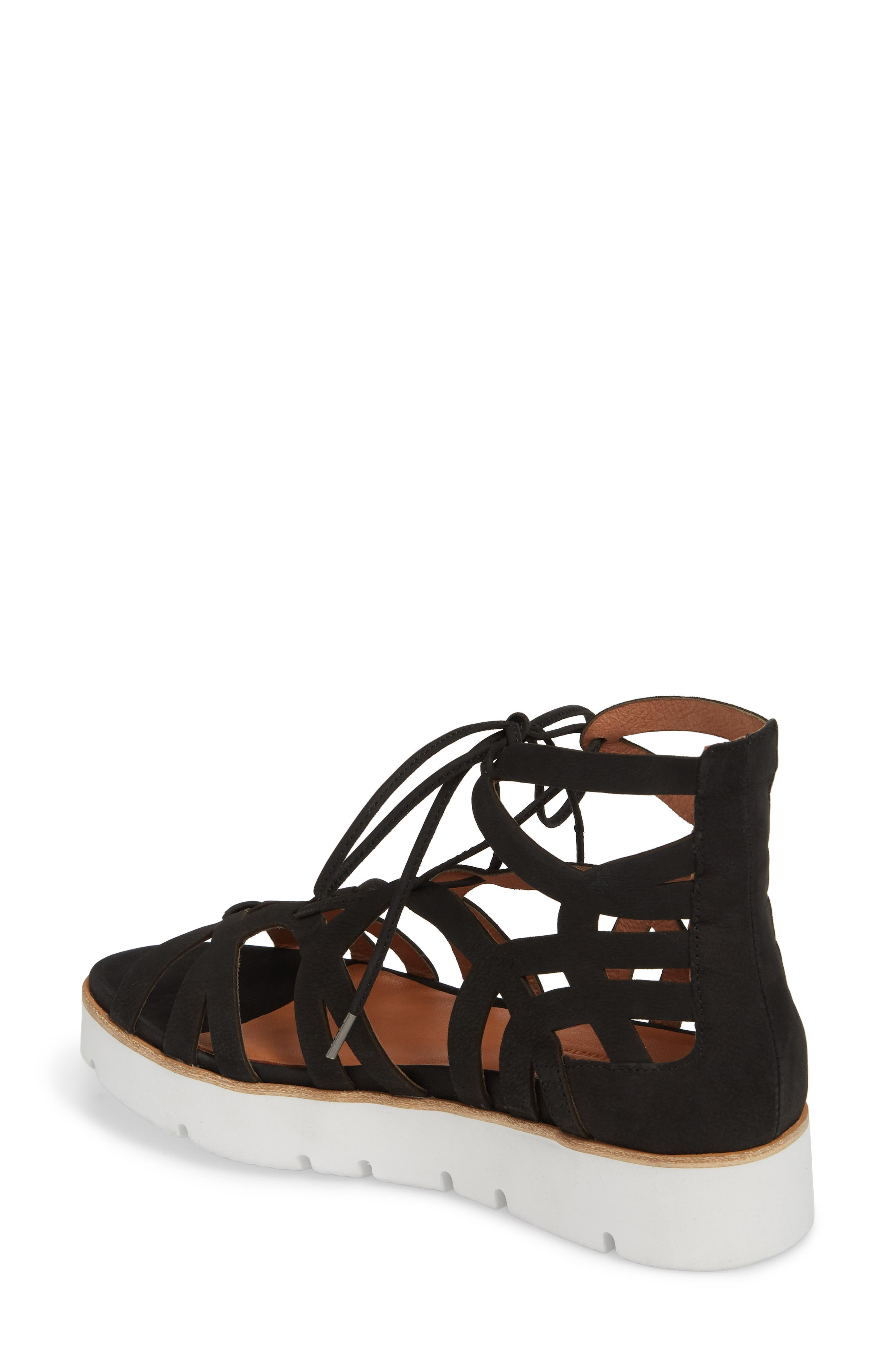 GENTLE SOULS BY KENNETH COLE, Larina Lace-Up Sandal, Alternate thumbnail 2, color, BLACK NUBUCK