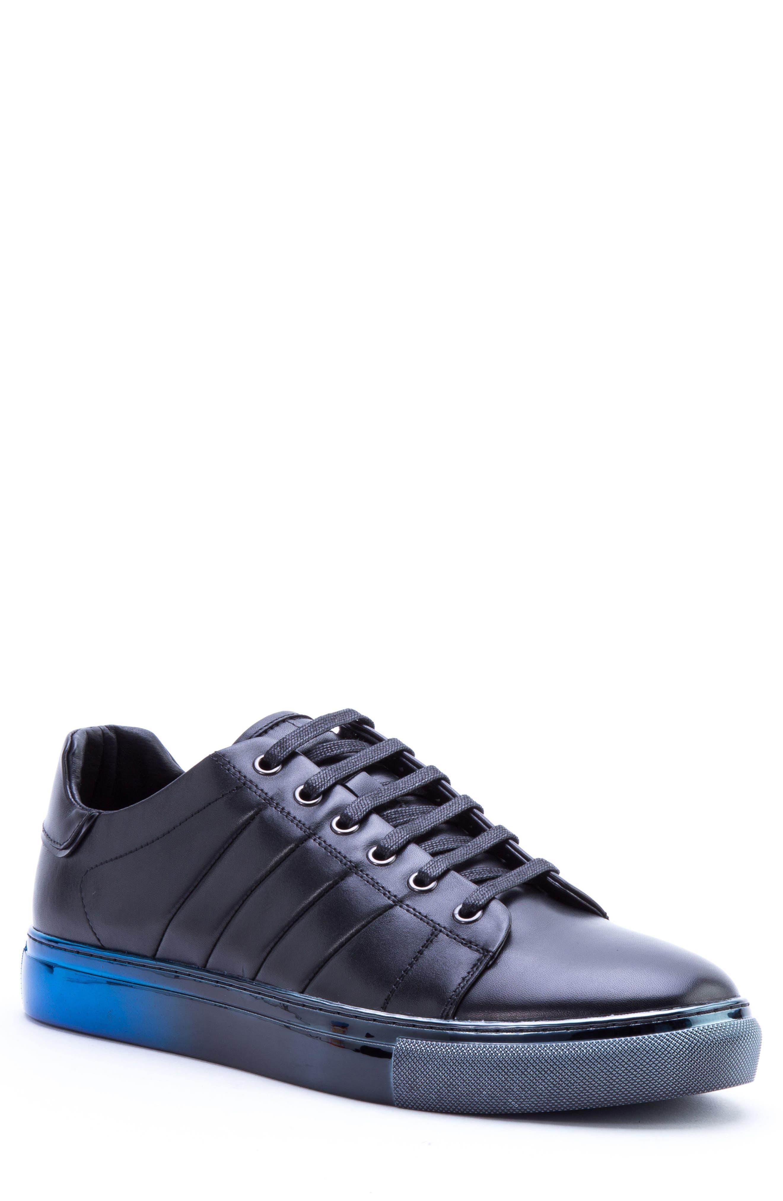 BADGLEY MISCHKA COLLECTION, Badgley Mischka Brando Sneaker, Main thumbnail 1, color, BLACK LEATHER