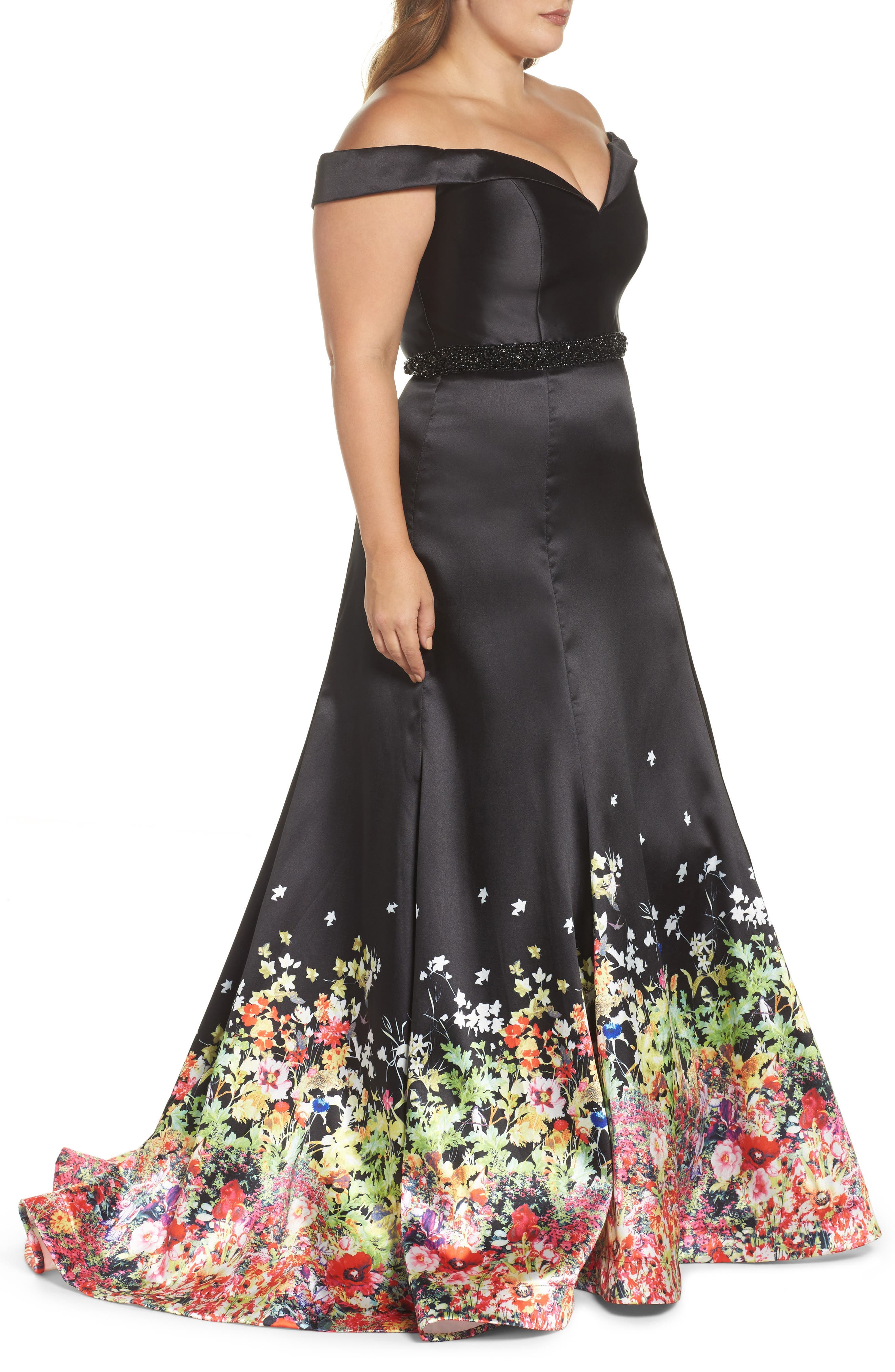 MAC DUGGAL, Beaded Waist Off the Shoulder Gown, Alternate thumbnail 3, color, BLACK/ MULTI