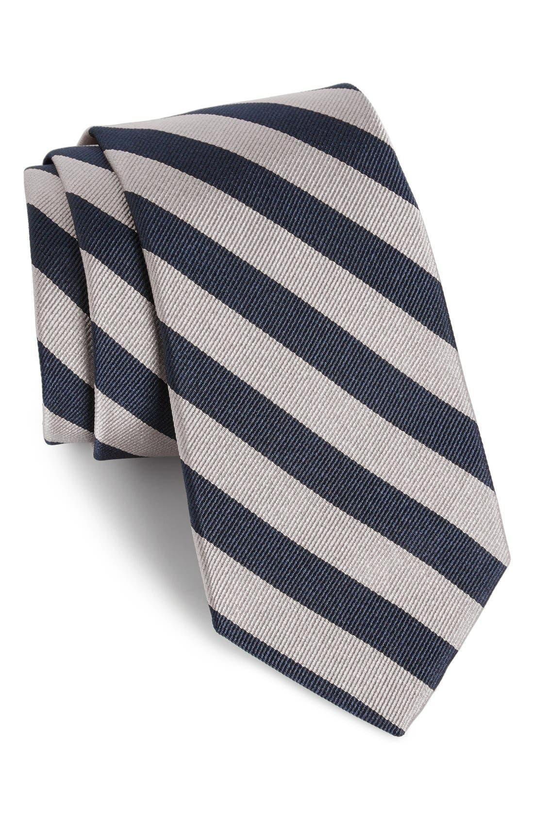 GITMAN, Stripe Silk Tie, Main thumbnail 1, color, GREY