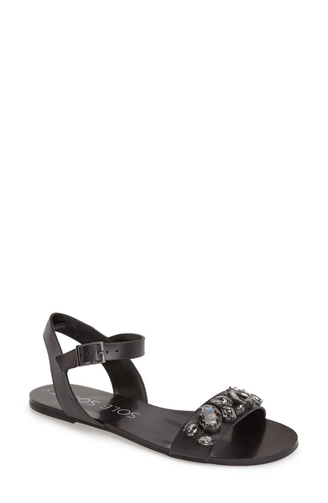 SOLE SOCIETY, 'Gemma' Crystal Ankle Strap Sandal, Main thumbnail 1, color, 001