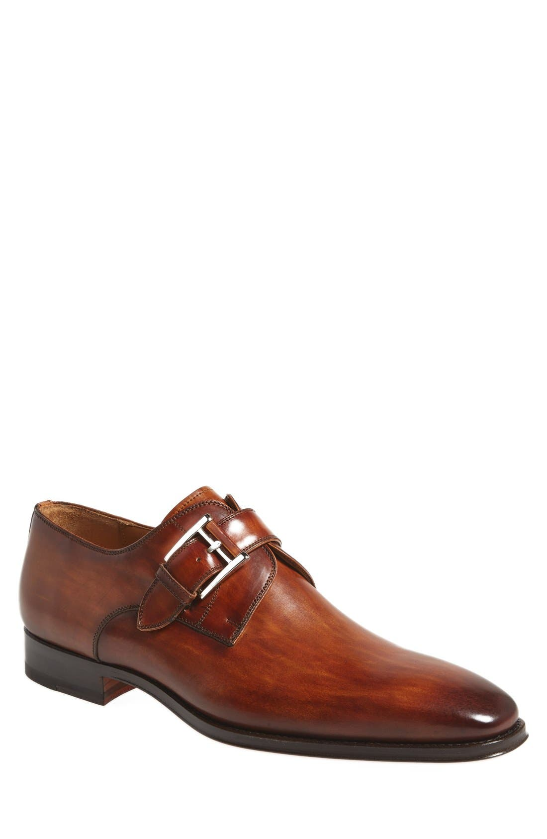 MAGNANNI, Marco Monk Strap Loafer, Main thumbnail 1, color, CUERO BROWN LEATHER