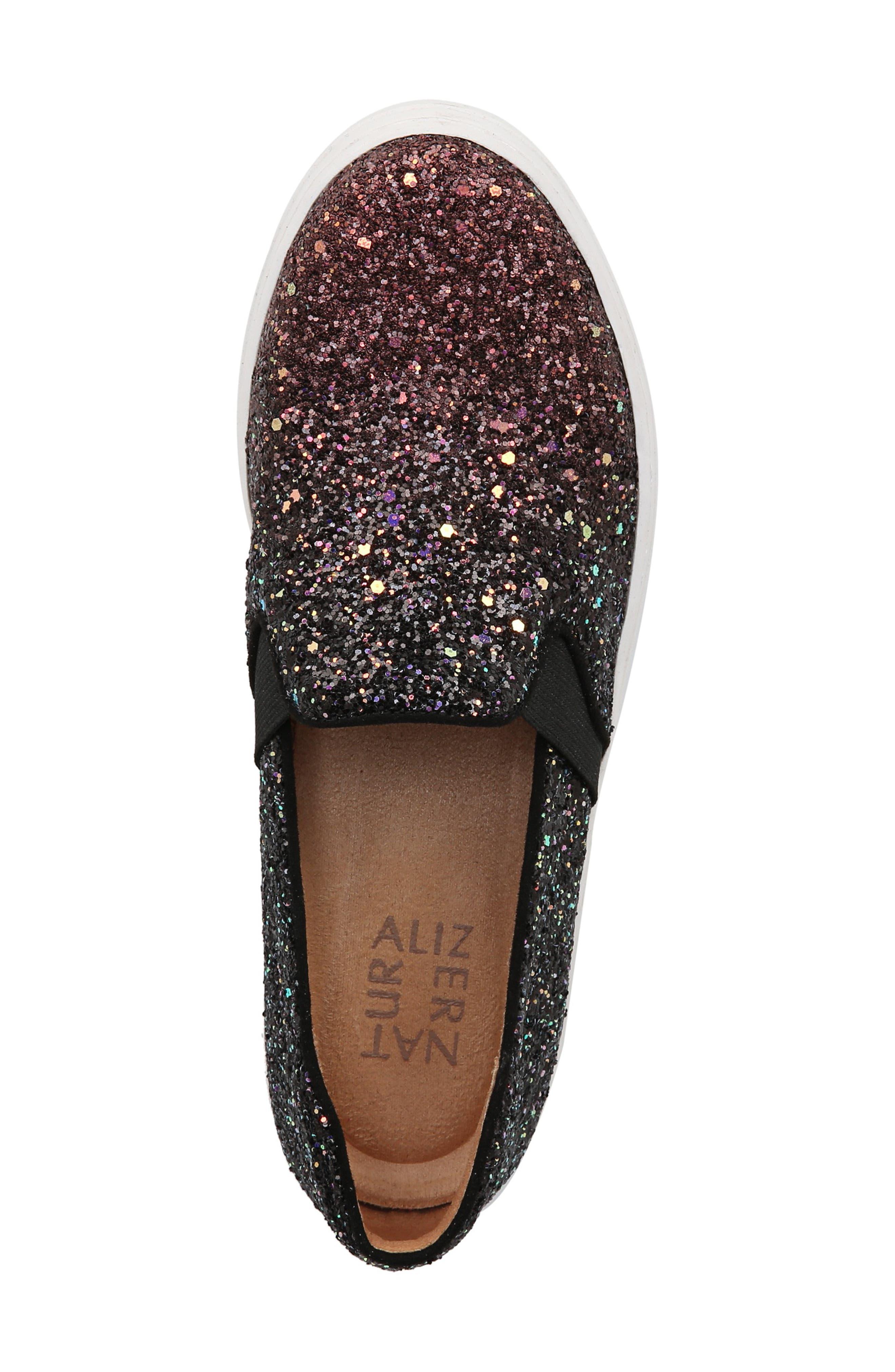 NATURALIZER, Carly Slip-On Sneaker, Alternate thumbnail 4, color, MULTI GLITTER FABRIC