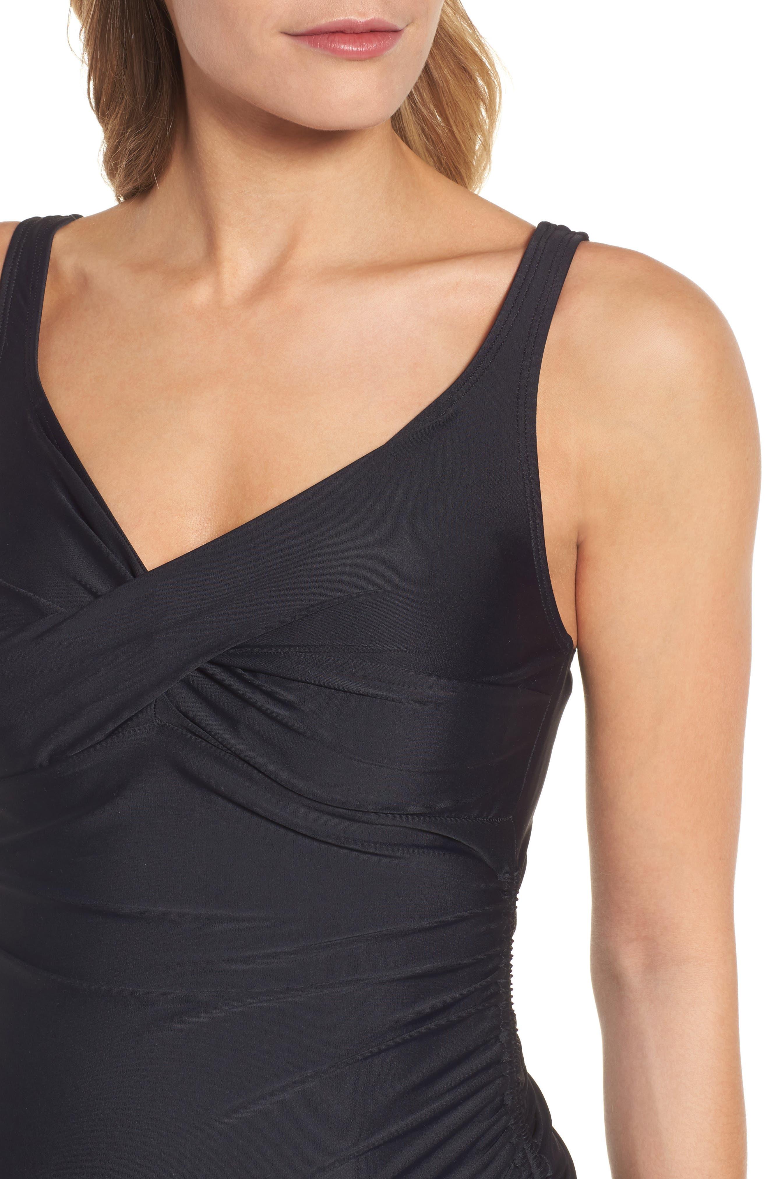 MATERNAL AMERICA, Ruched Maternity Tankini Swimsuit, Alternate thumbnail 5, color, BLACK